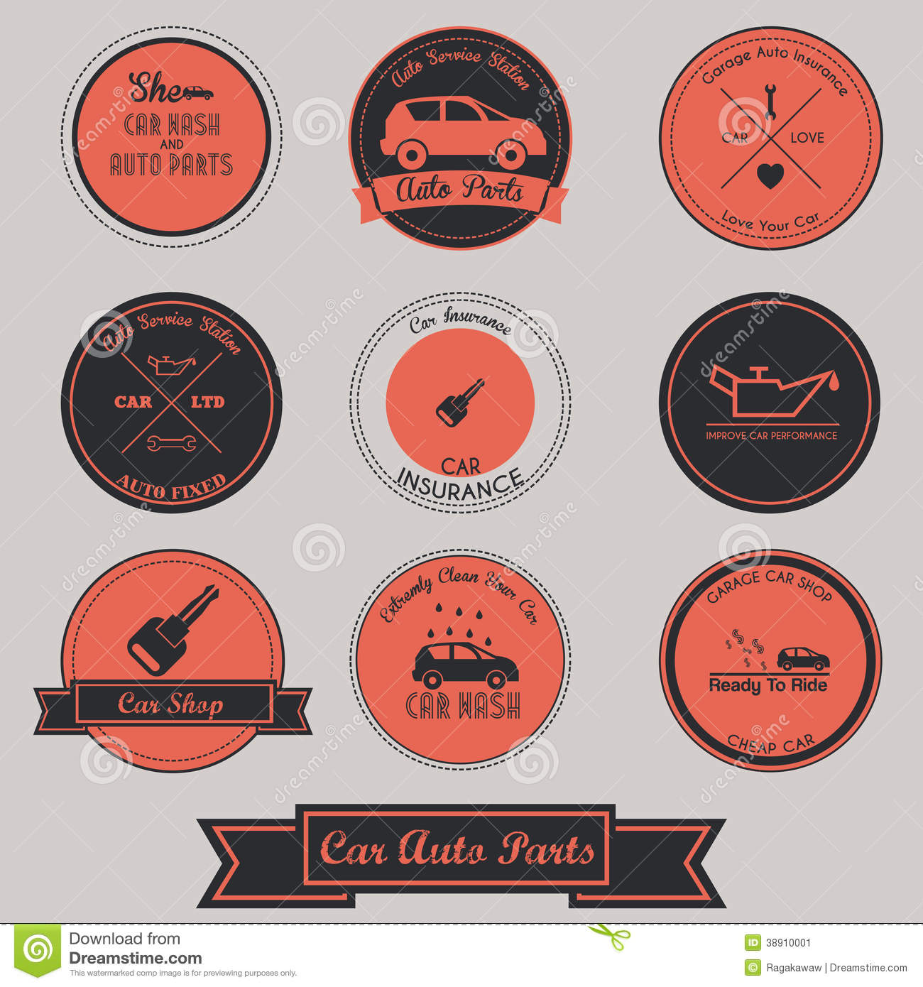 Car Auto Parts Vintage Label Design Stock Vector
