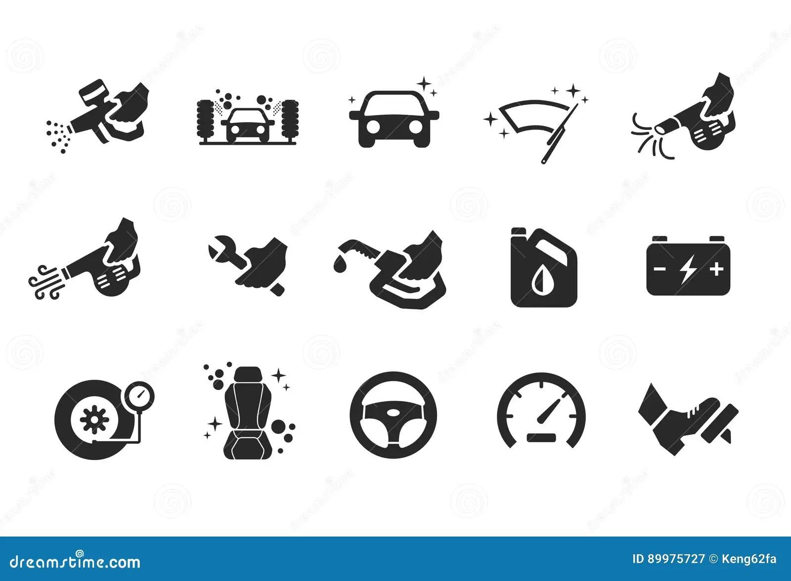 Flat Vector Car Wash Icons Cartoon Vector