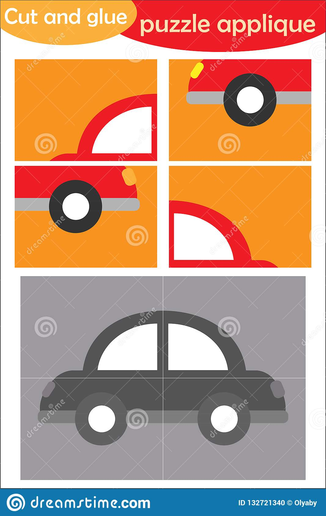 Car In Cartoon Style Education Puzzle Game For