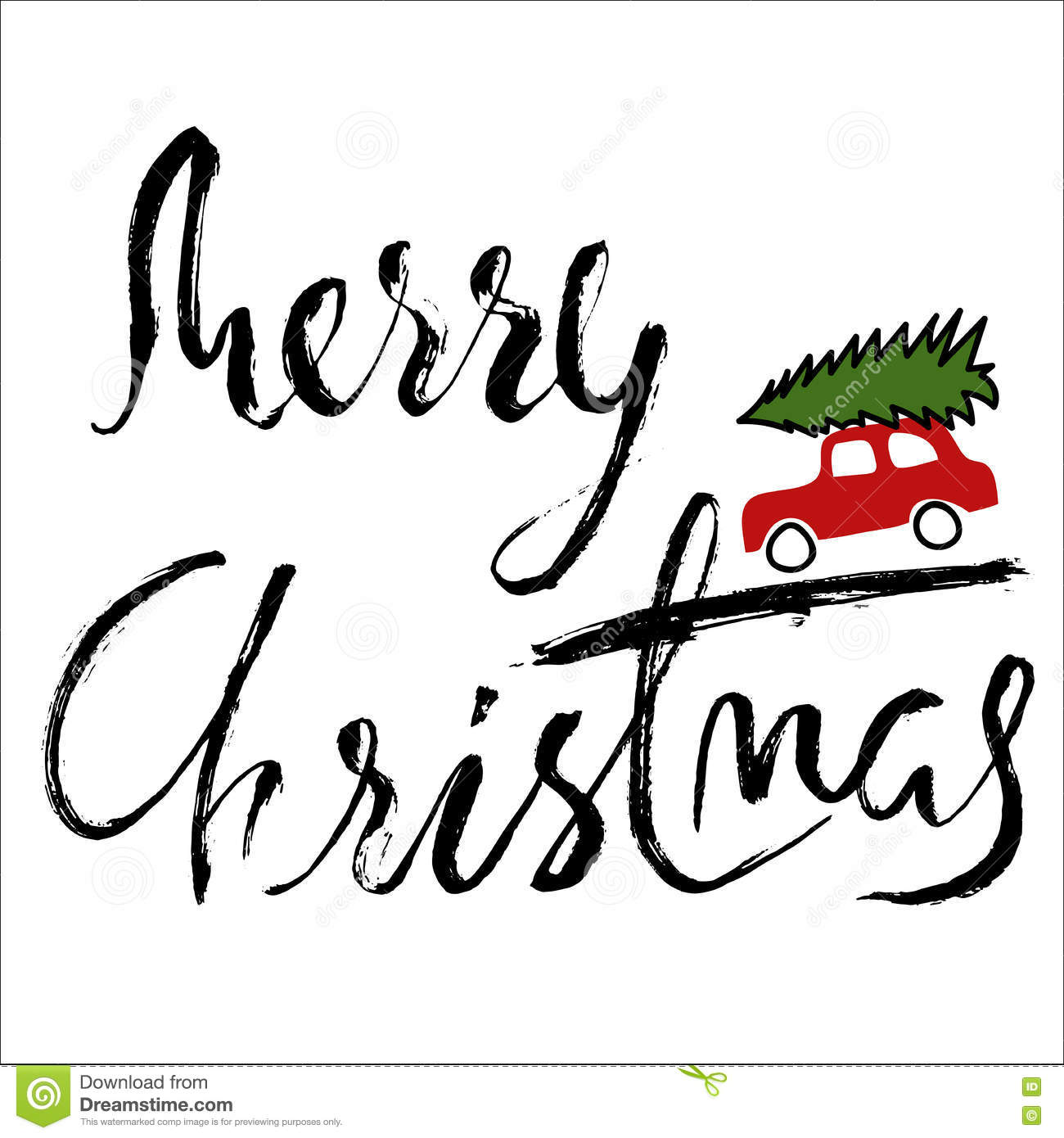Car With A Christmas Tree Merry Christmas Handwritten