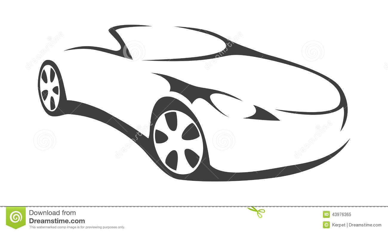 Car Convertible Silhouette Stock Vector Illustration Of