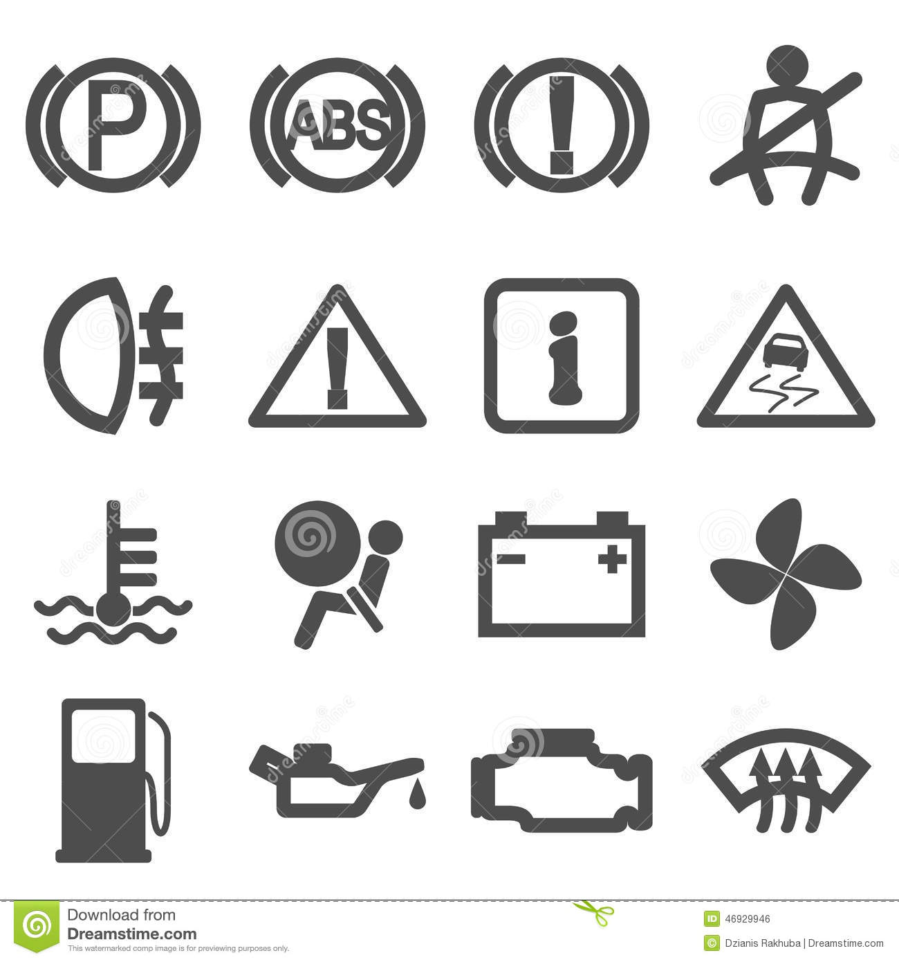 Car Driving Icons Stock Vector