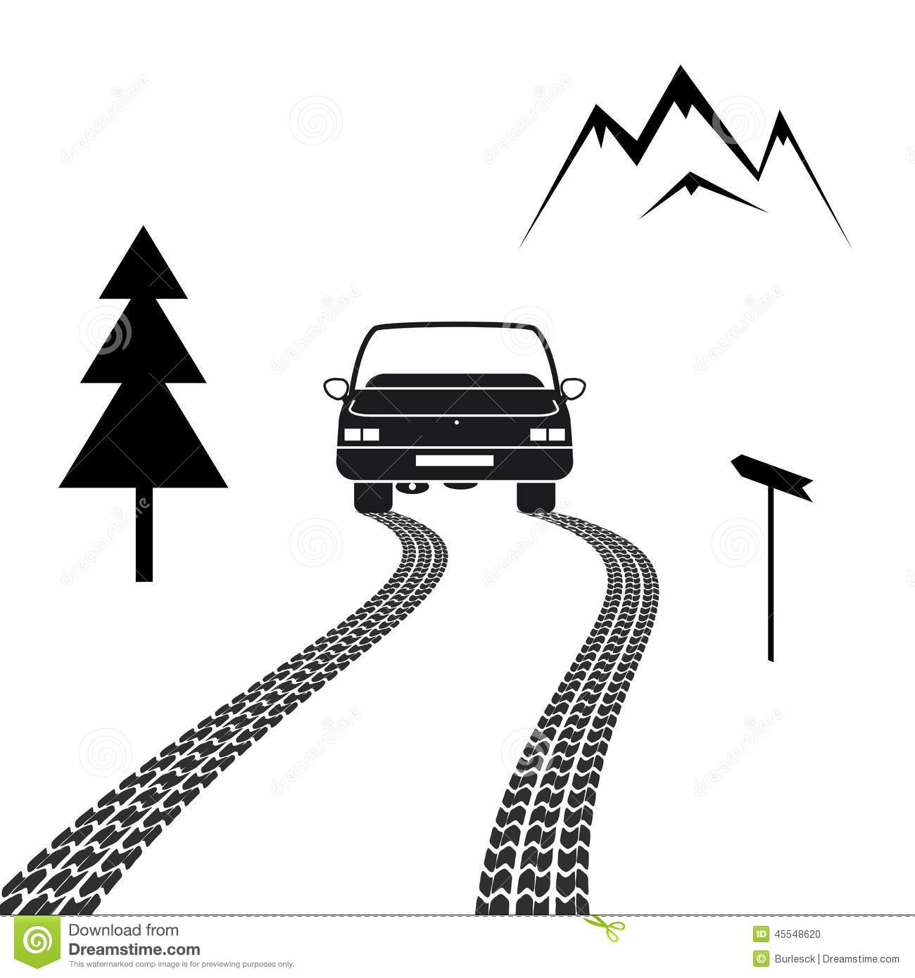 Car Driving On A Mountain Road With Tire Tracks Stock