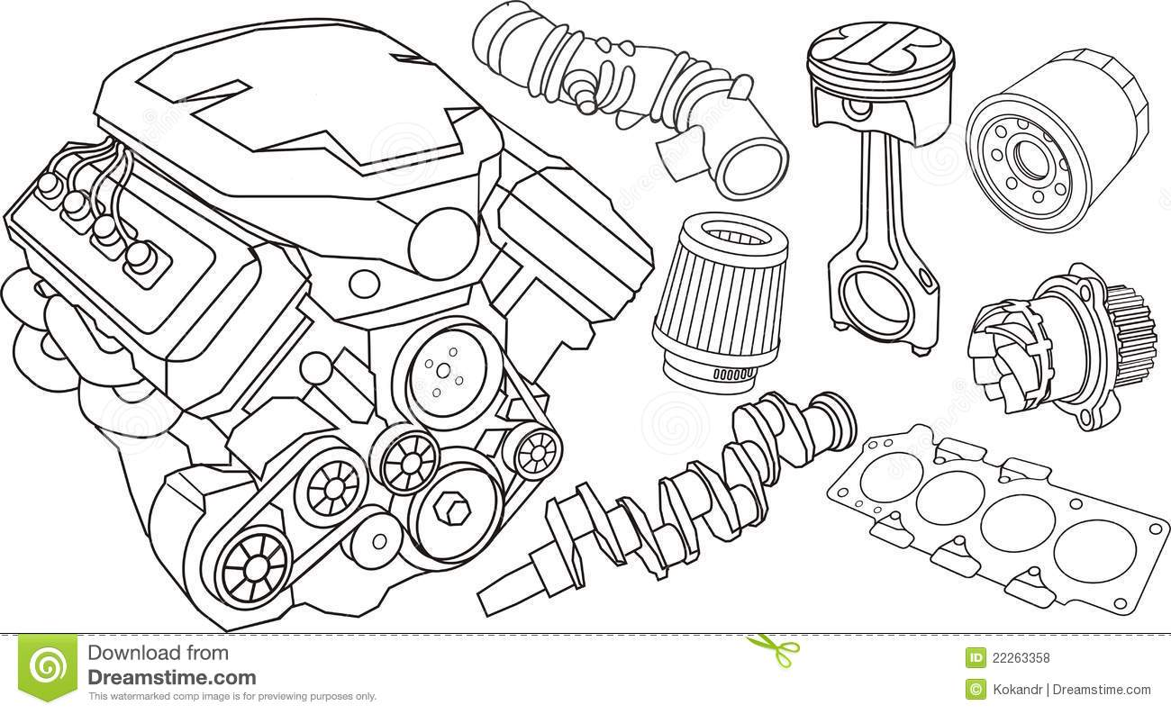 Car Engine Parts Stock Vector Image Of Engine Filter