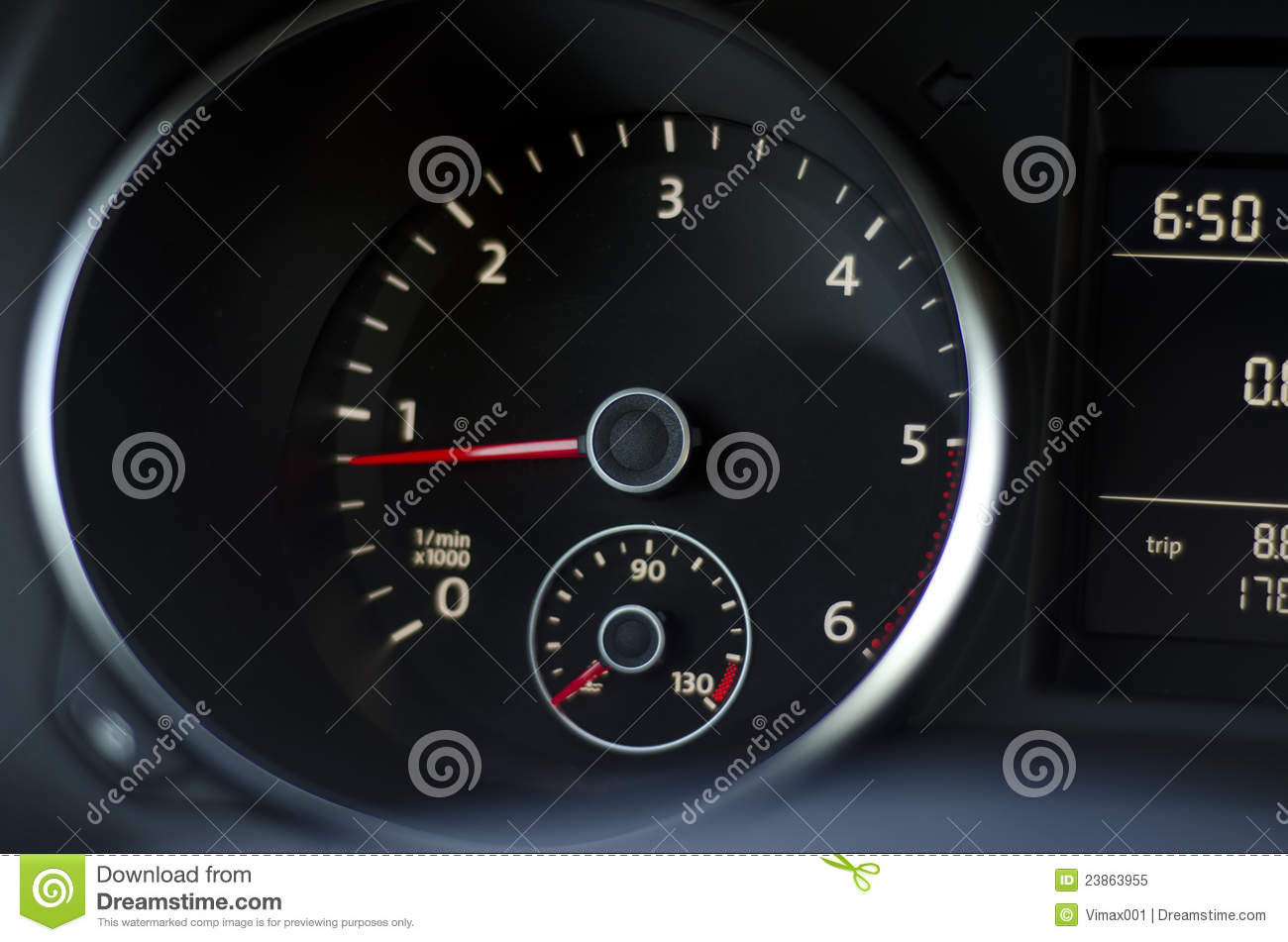 Car Instrument Panel With Light Reflection Stock Image