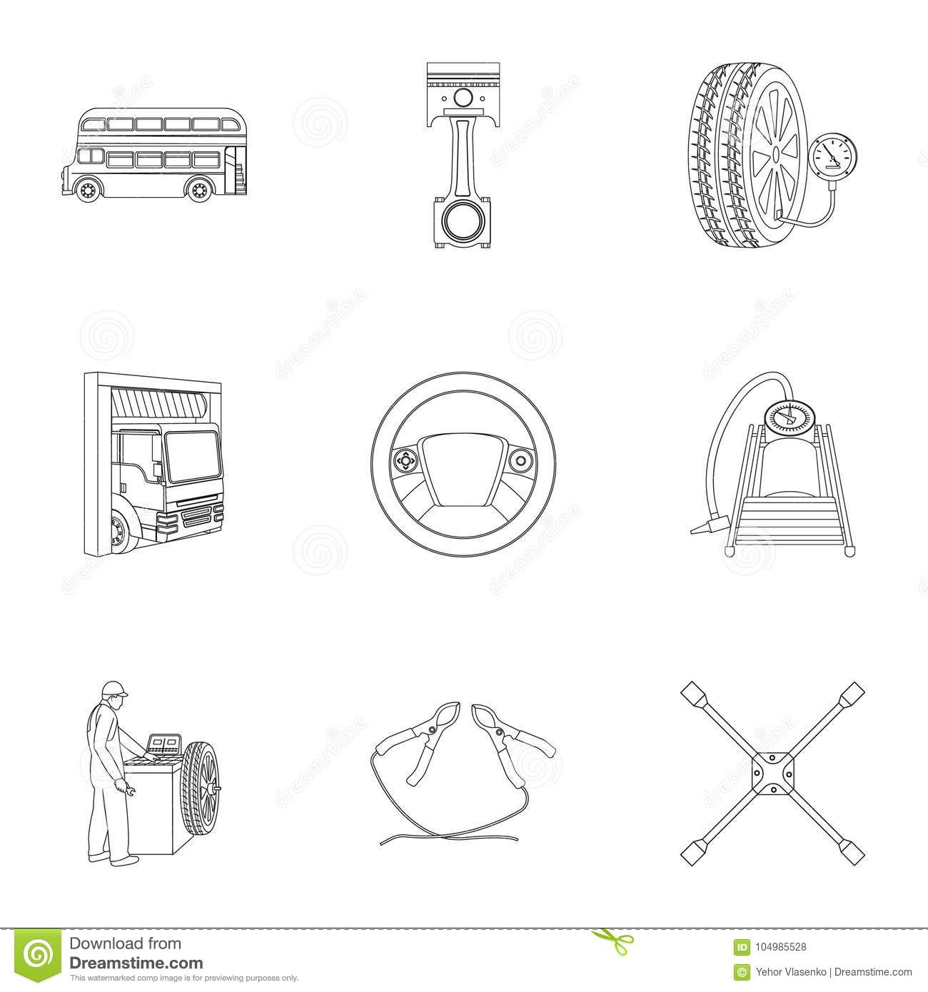 Car Lift Pump And Other Equipment Outline Icons In Set