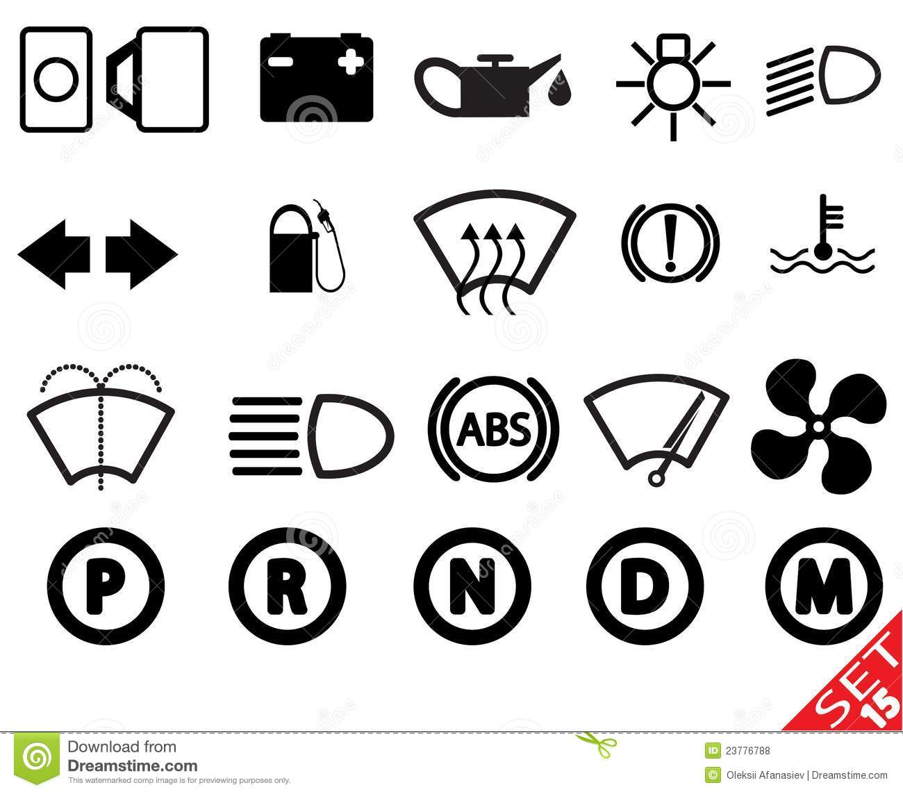 Car Part Icon Set 15 Stock Vector Illustration Of Black
