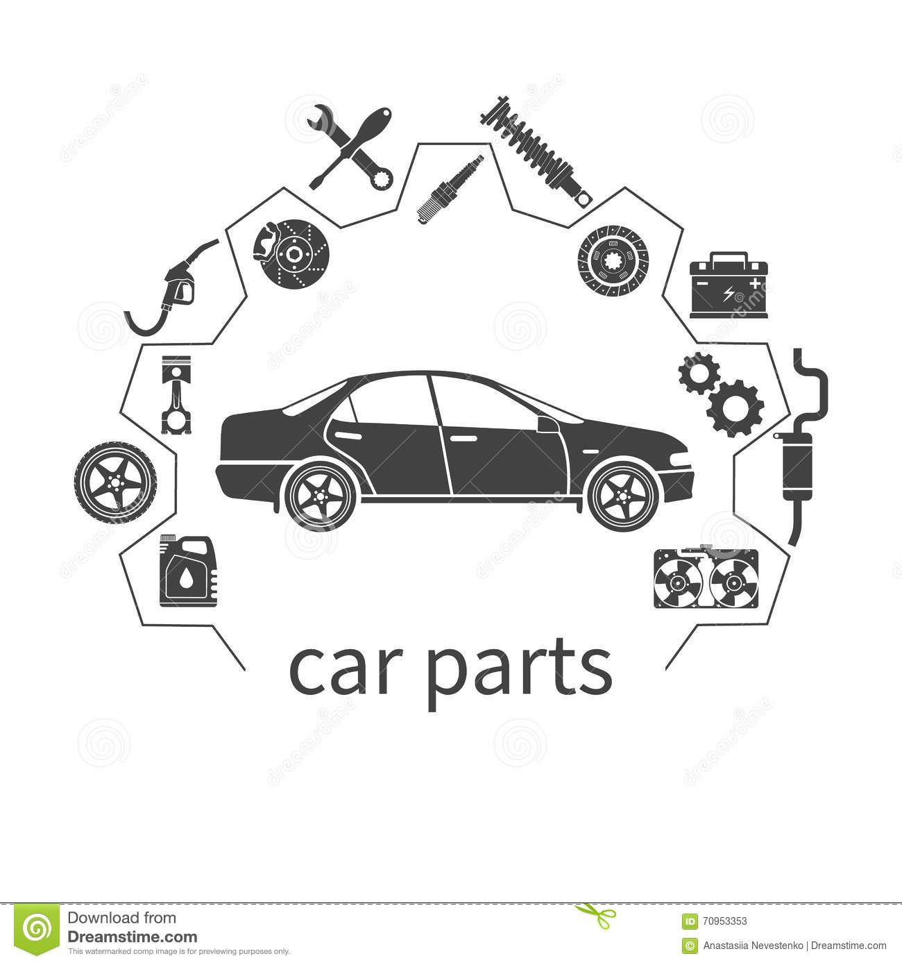 Car Parts Auto Spare Parts For Repairs Stock Vector