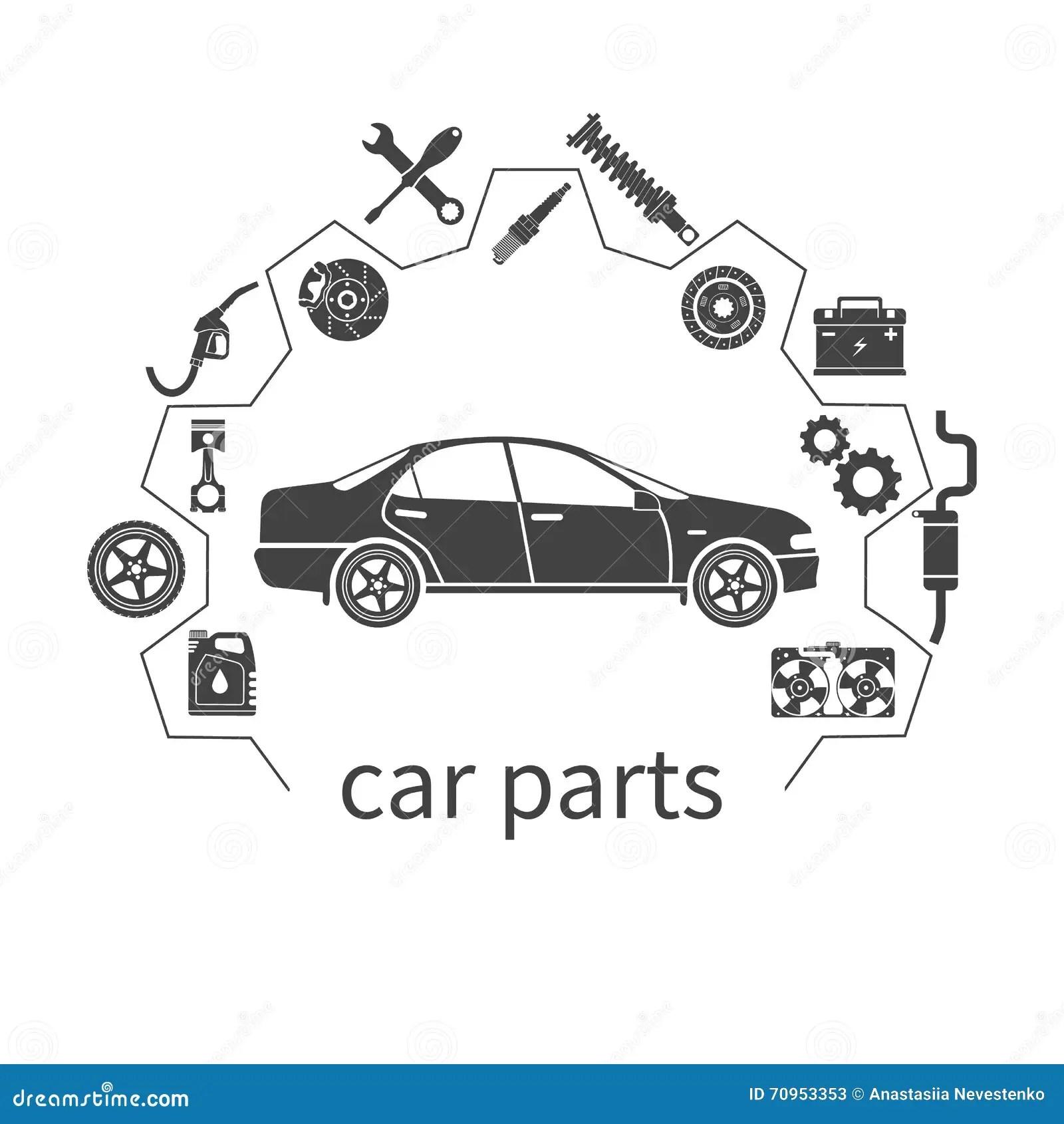 Auto Car Spare Parts Seamless Pattern On Dark Background