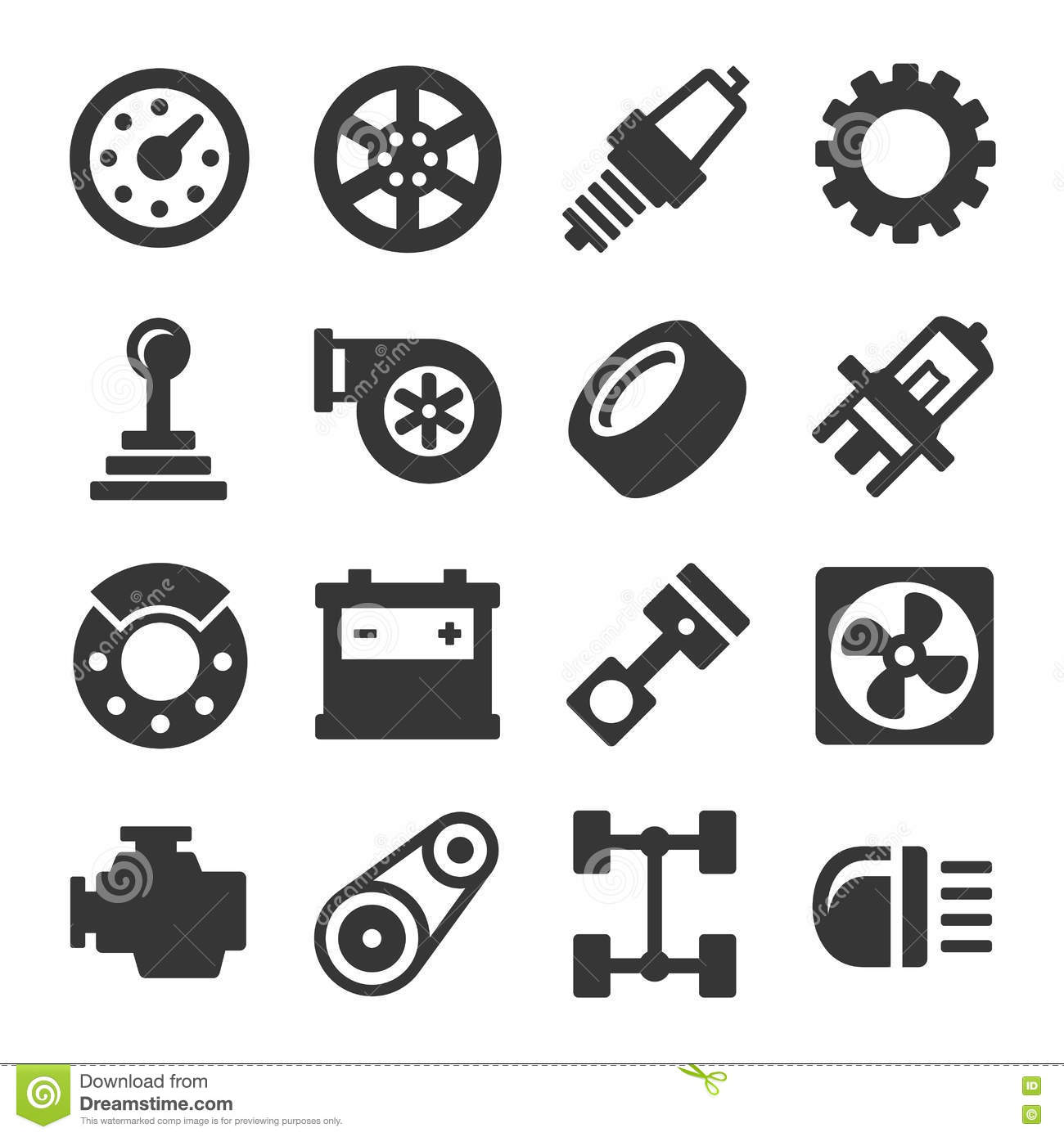 Spare Parts Car On The White Background Set Cartoon Vector