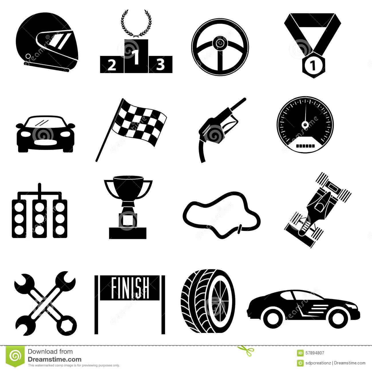 Car Race Icons Set Stock Vector