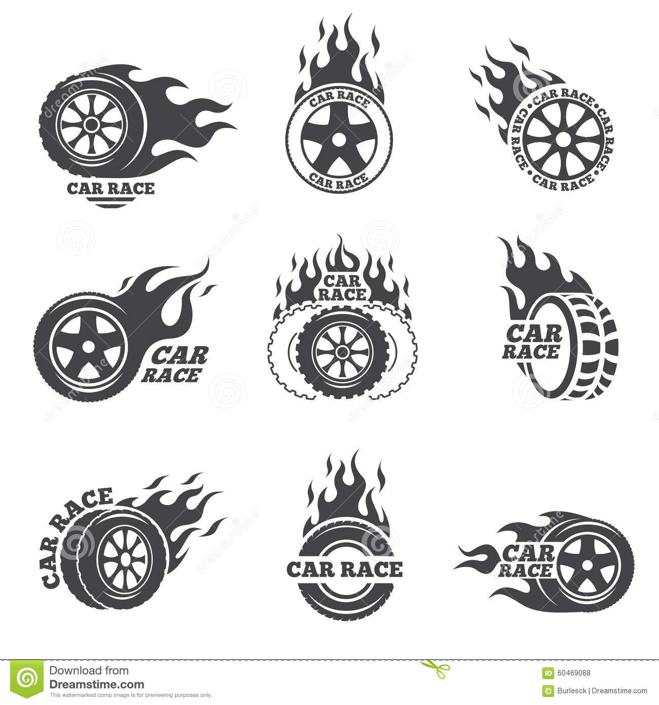 Car Race Logo Set Wheel With Fire Flame Stock Vector