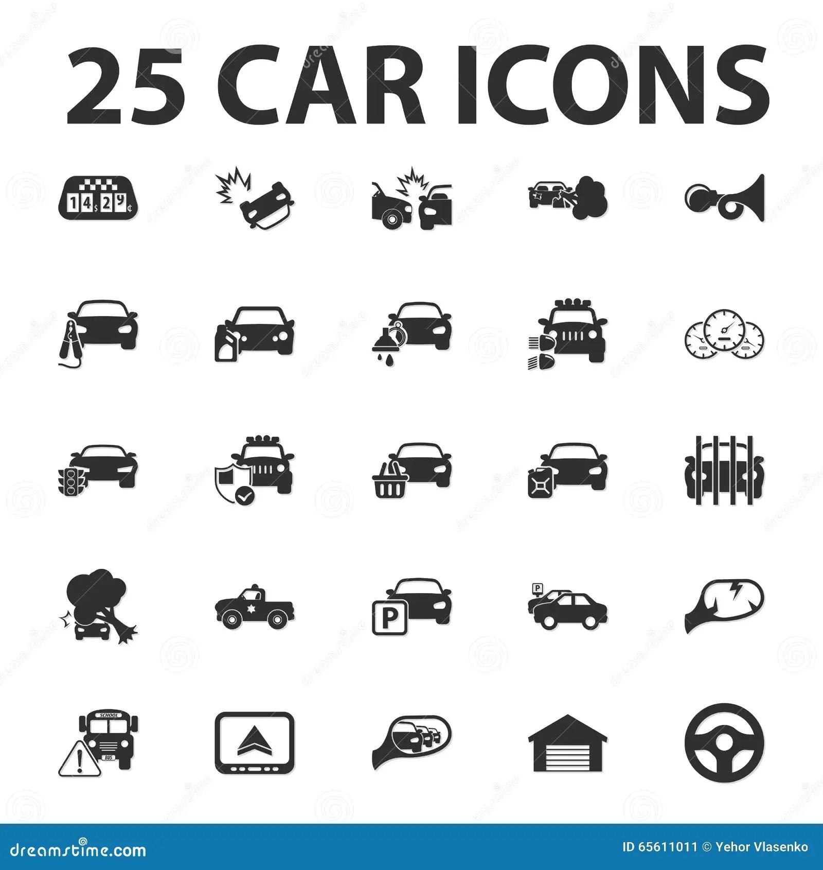 Car Repair 25 Black Simple Icons Set For Web Stock Vector
