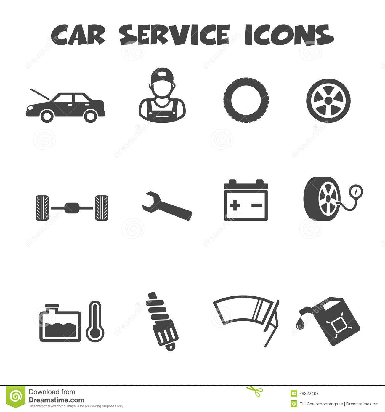 Car Service Icons Stock Vector Image Of Maintenance