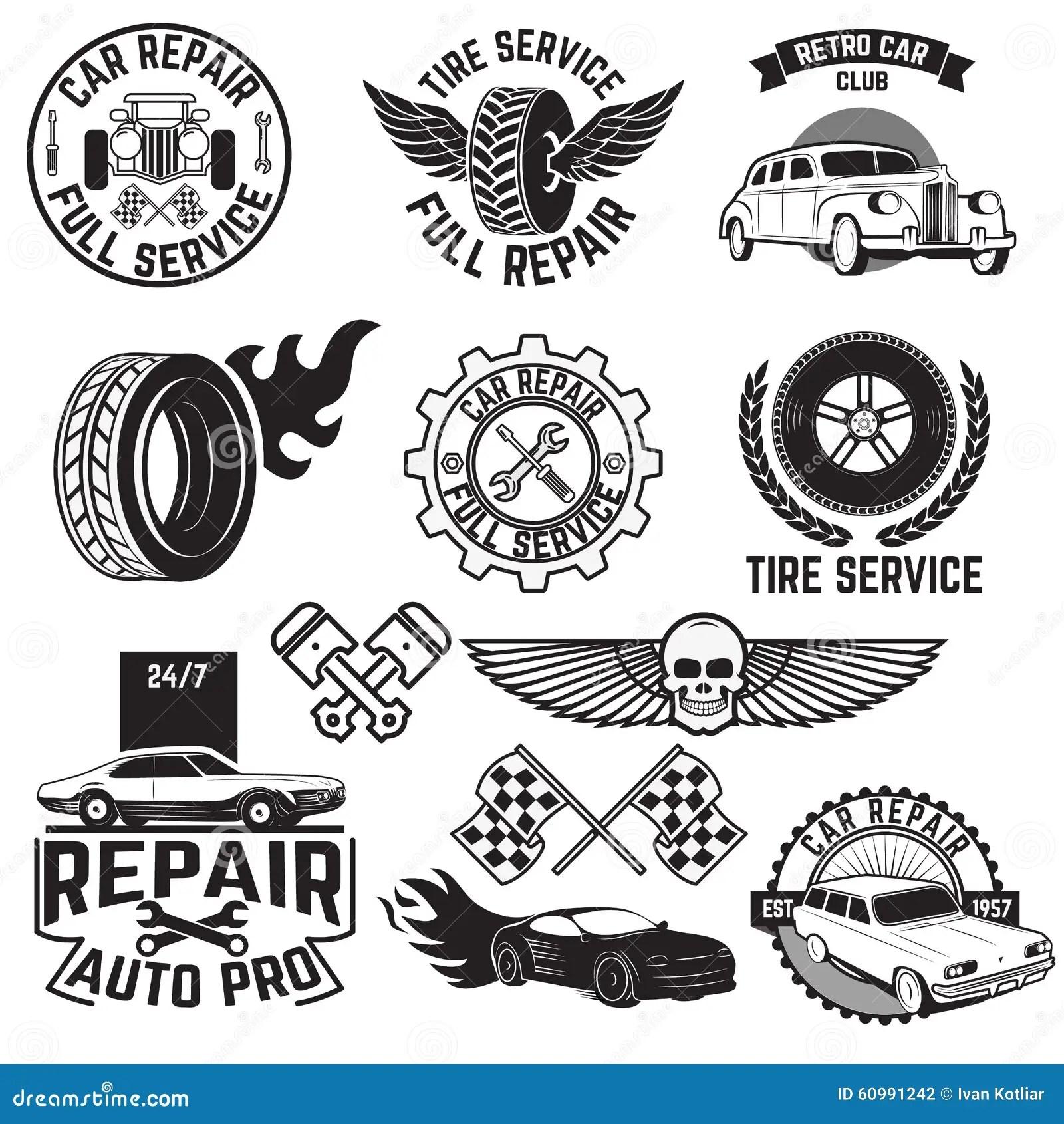 Car Wash Vintage Stamp Collection Vector Illustration