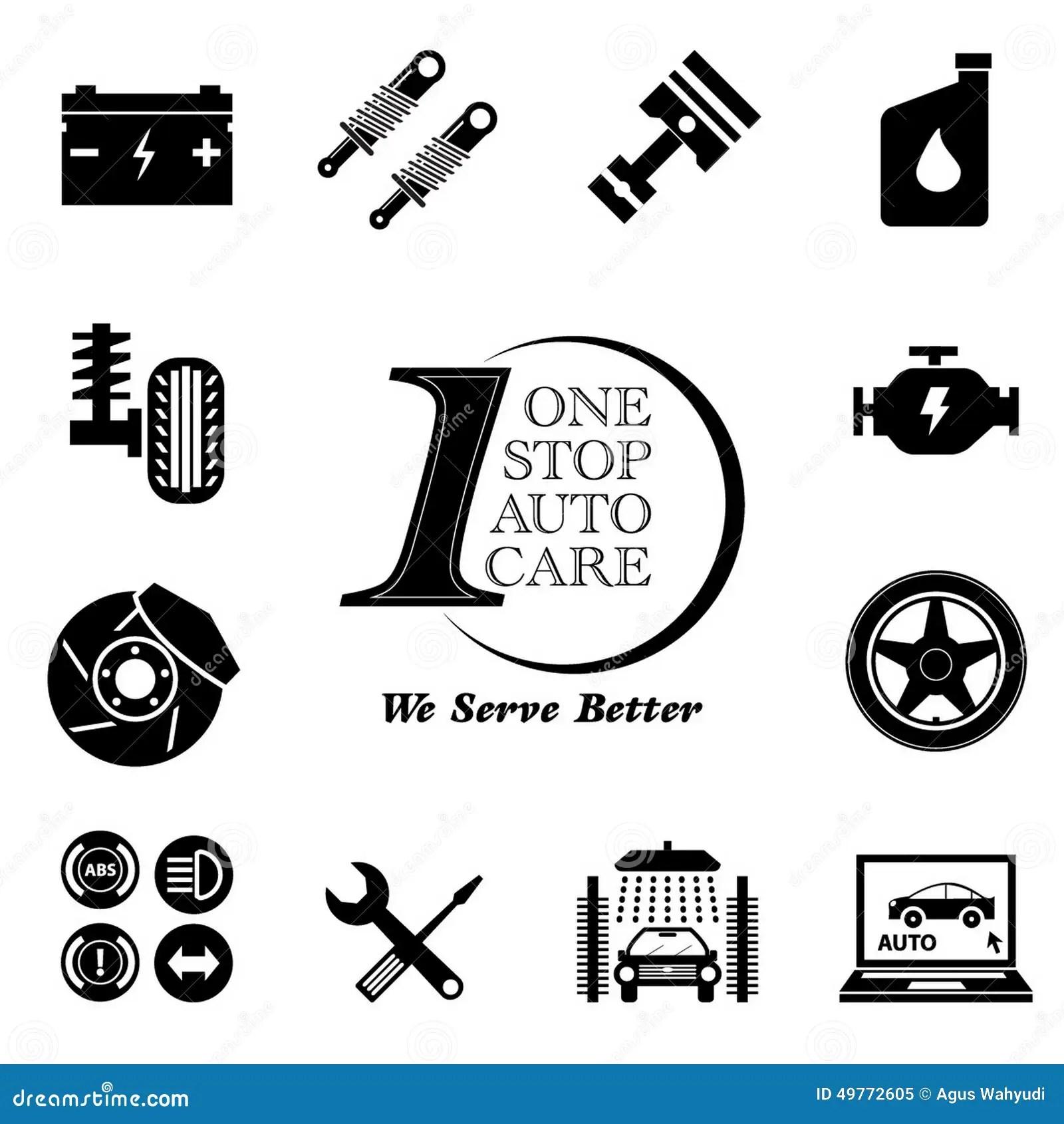 Car Service Maintenance Icon Set Stock Illustration