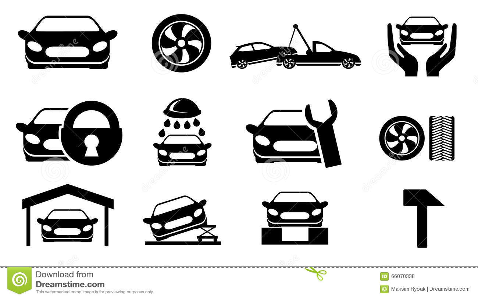 Car Service Maintenance Icon Set Stock Vector