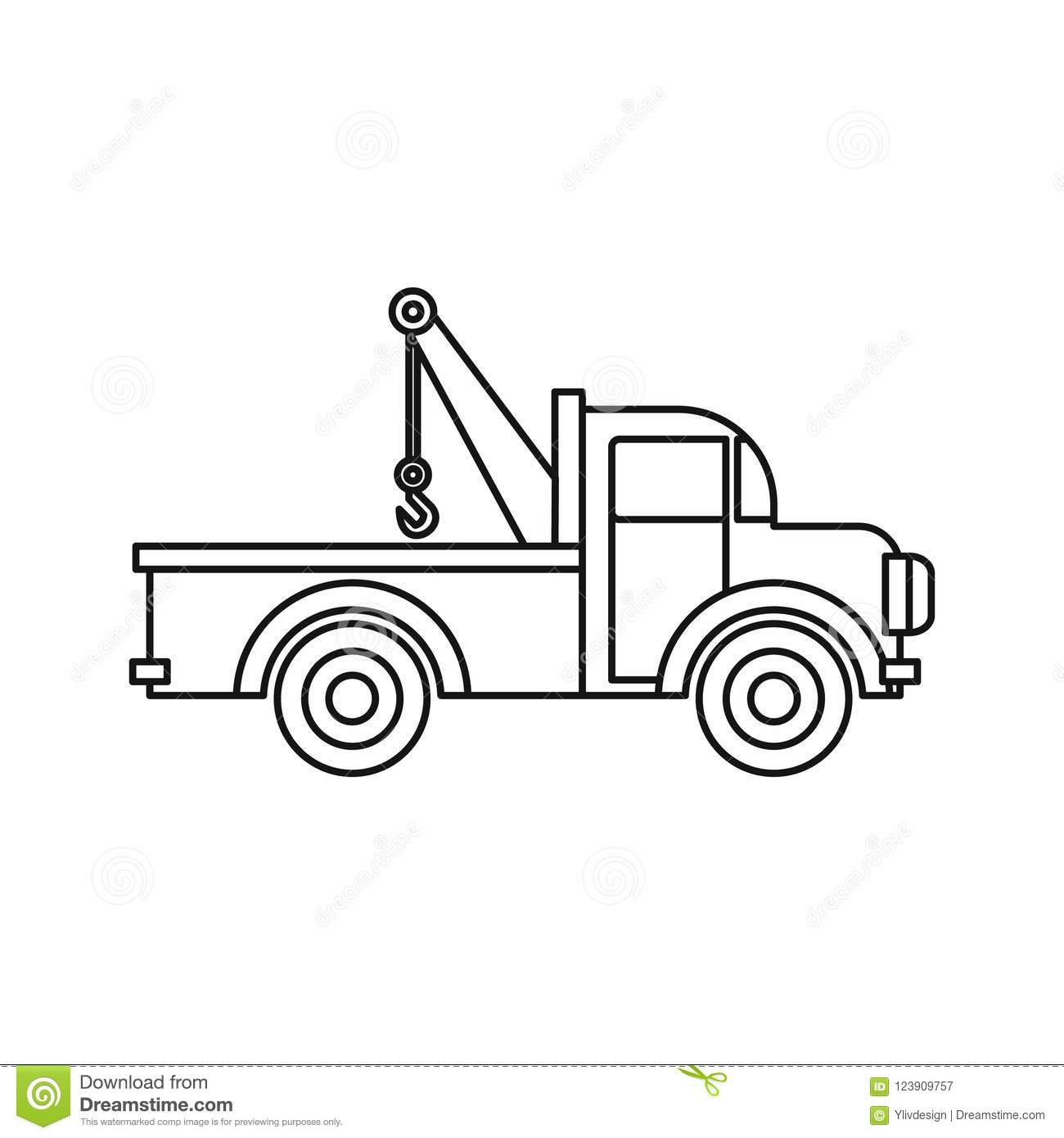 Car Towing Truck Icon Outline Style Stock Illustration