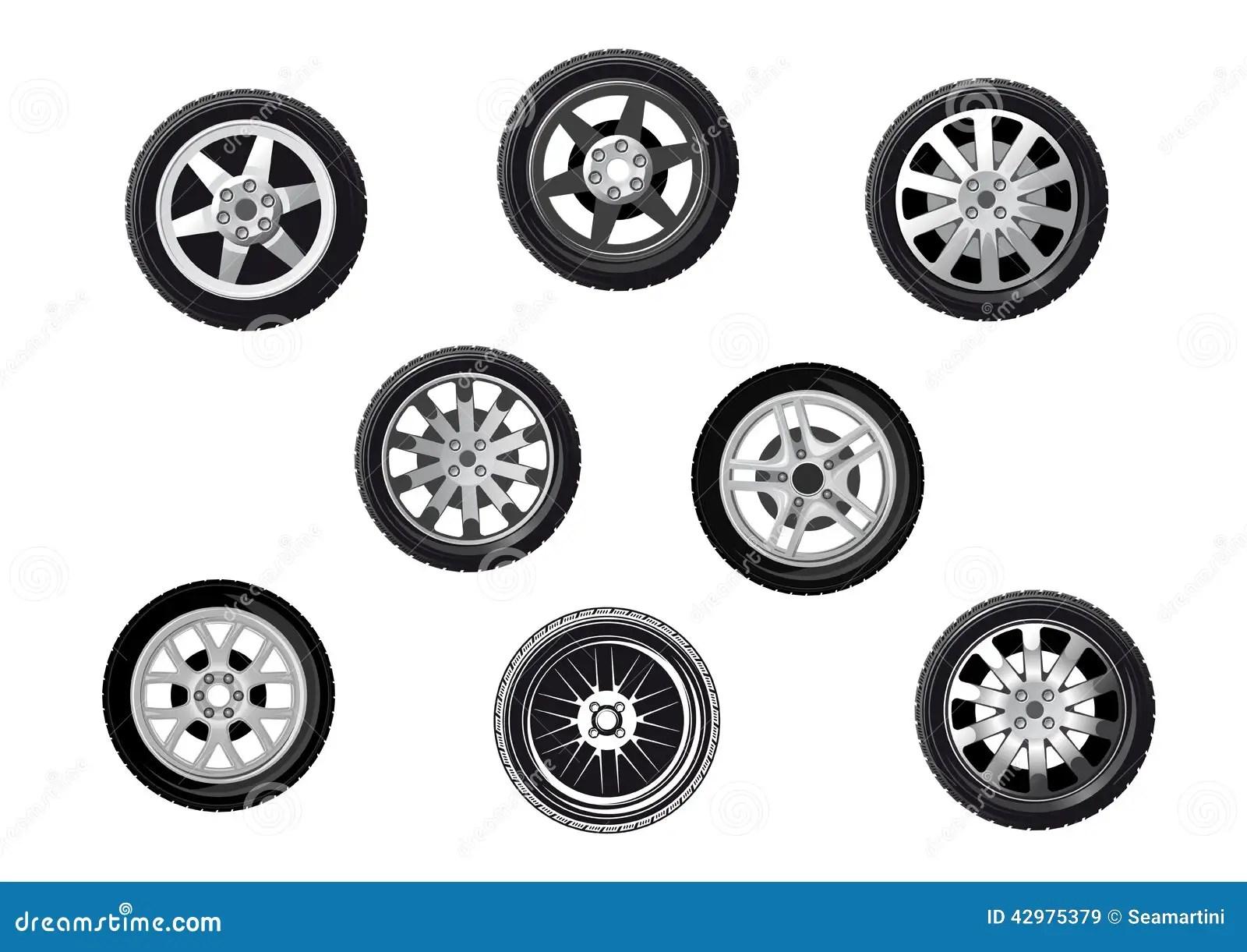 Car Tyres Set Stock Vector