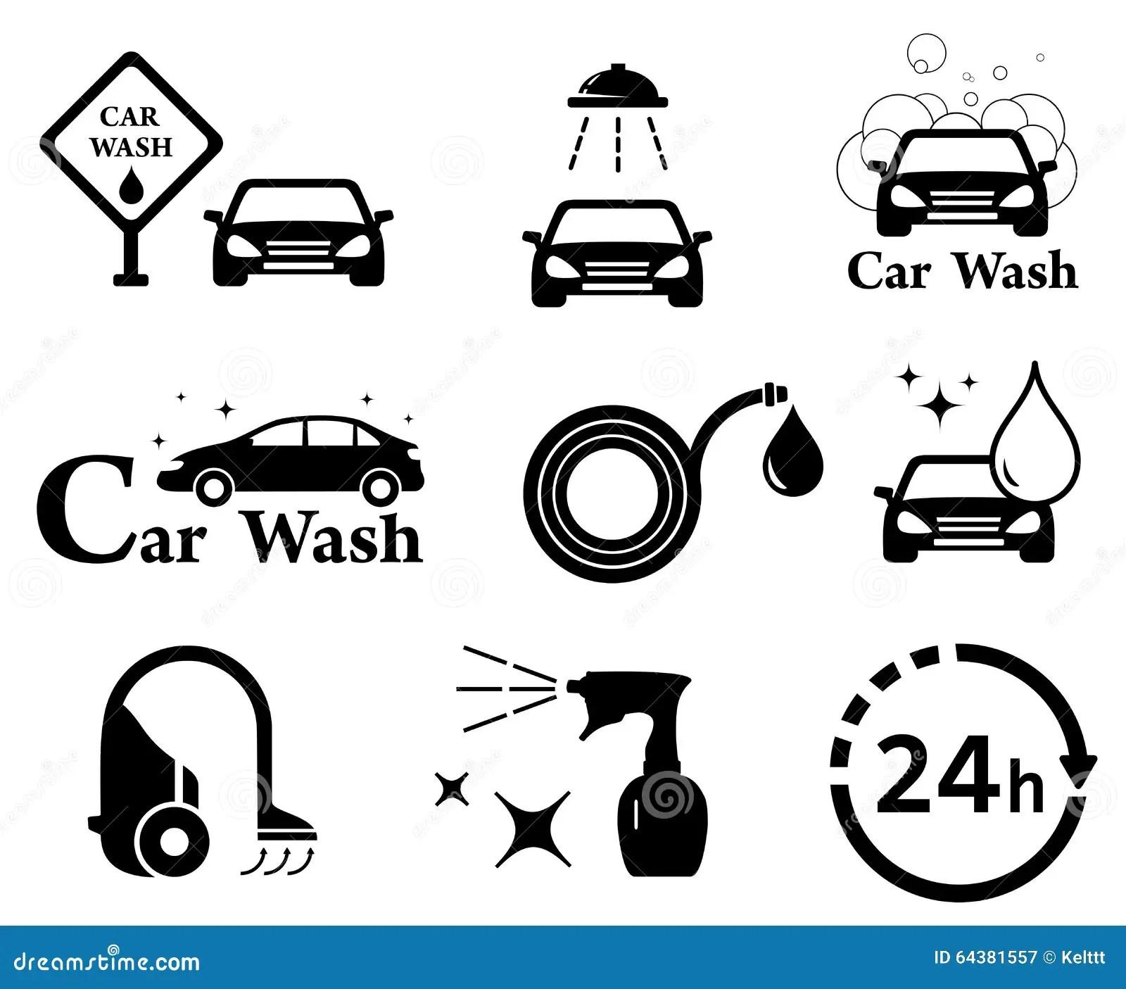 Car Wash Icons Set Vector Illustration