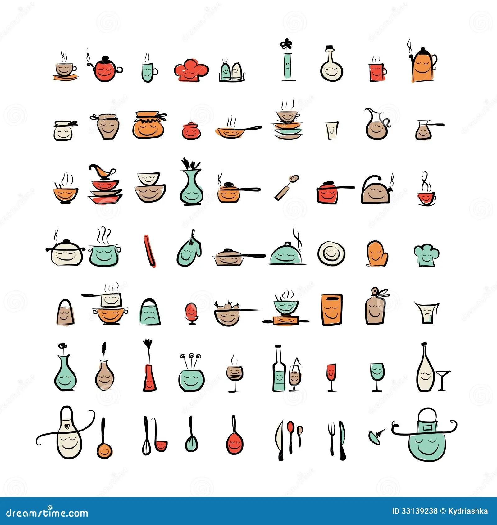 Caratteri Degli Utensili Della Cucina Icone Del Disegno