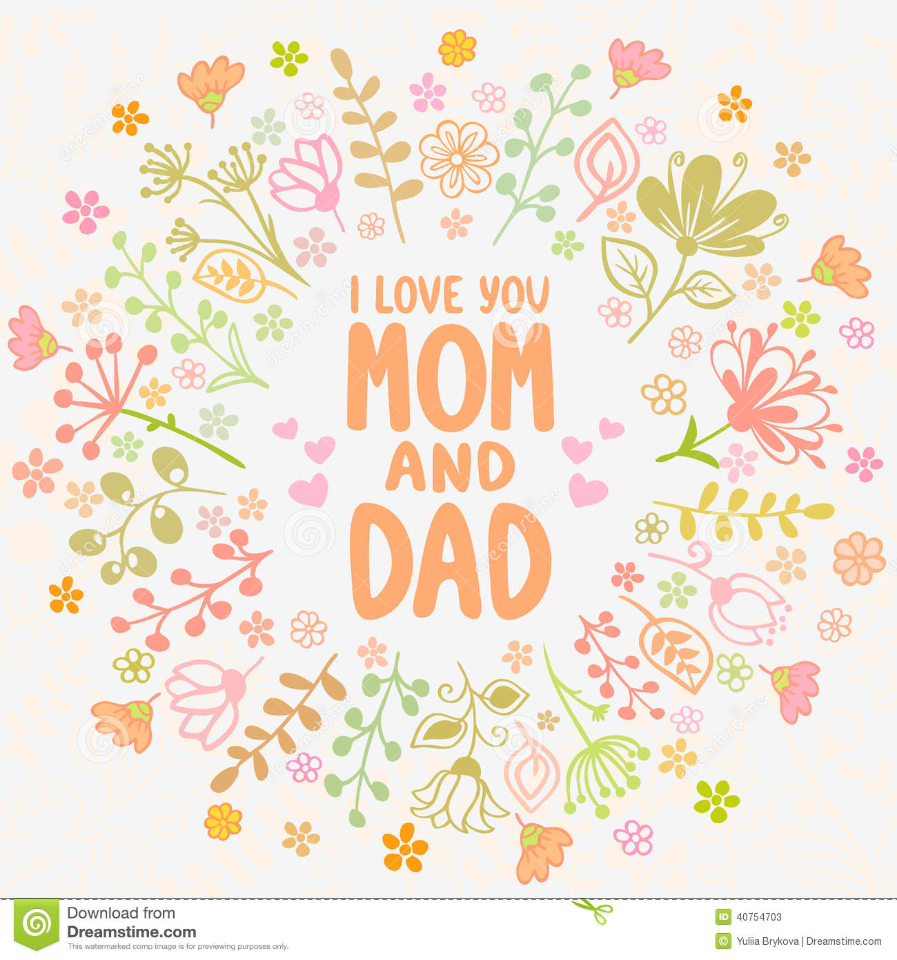 Card Mom And Dad Stock Vector Illustration Of Love Happy