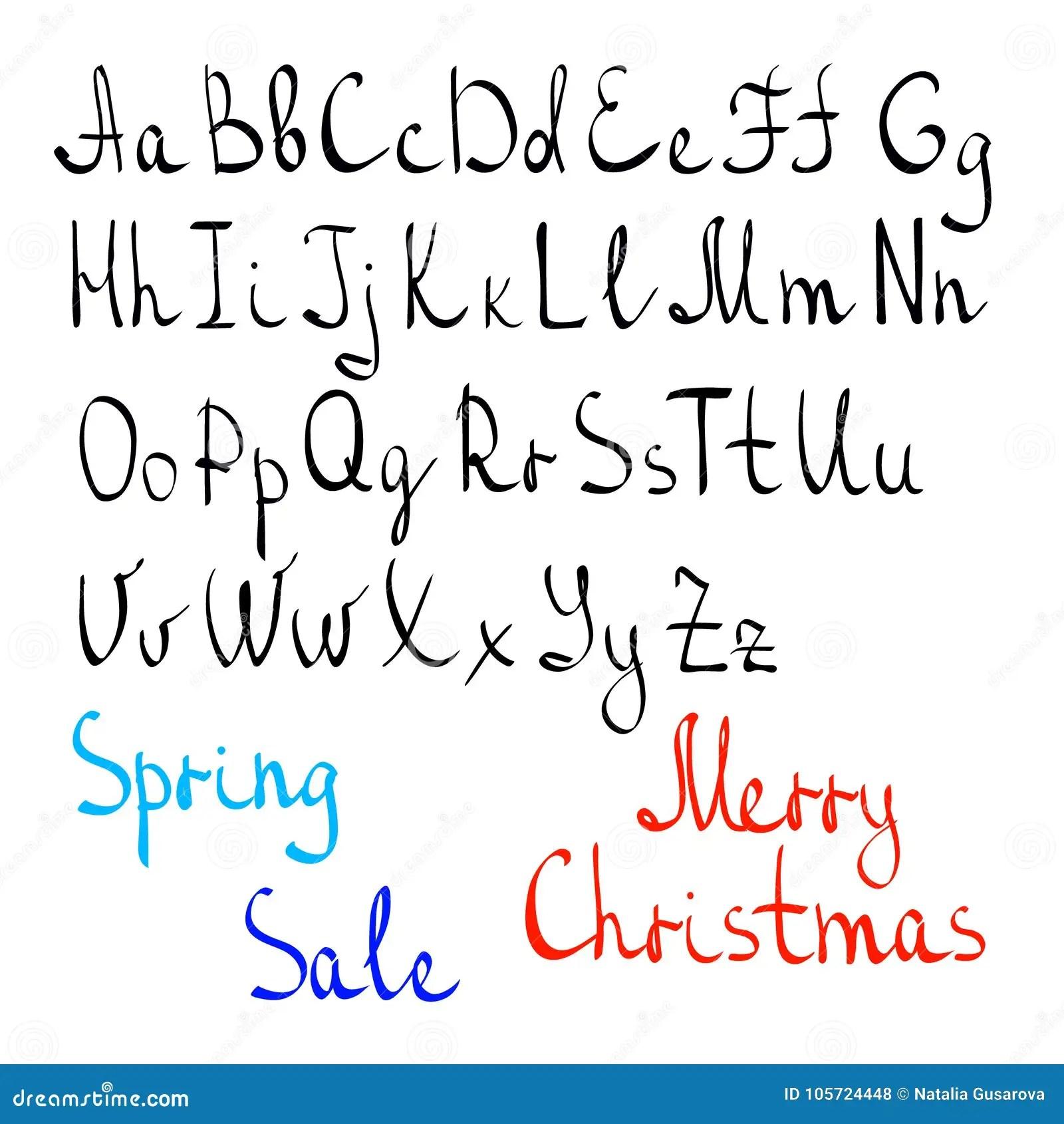 Carelessly Handwritten English Alphabet Stock Illustration