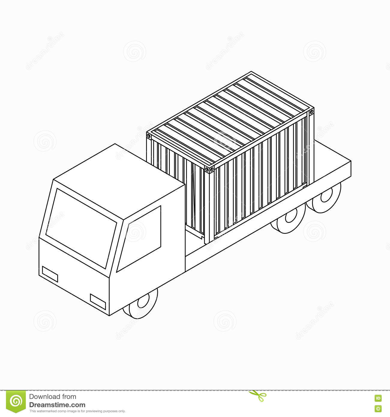 Cargo Container On Truck Icon Isometric 3d Style Stock