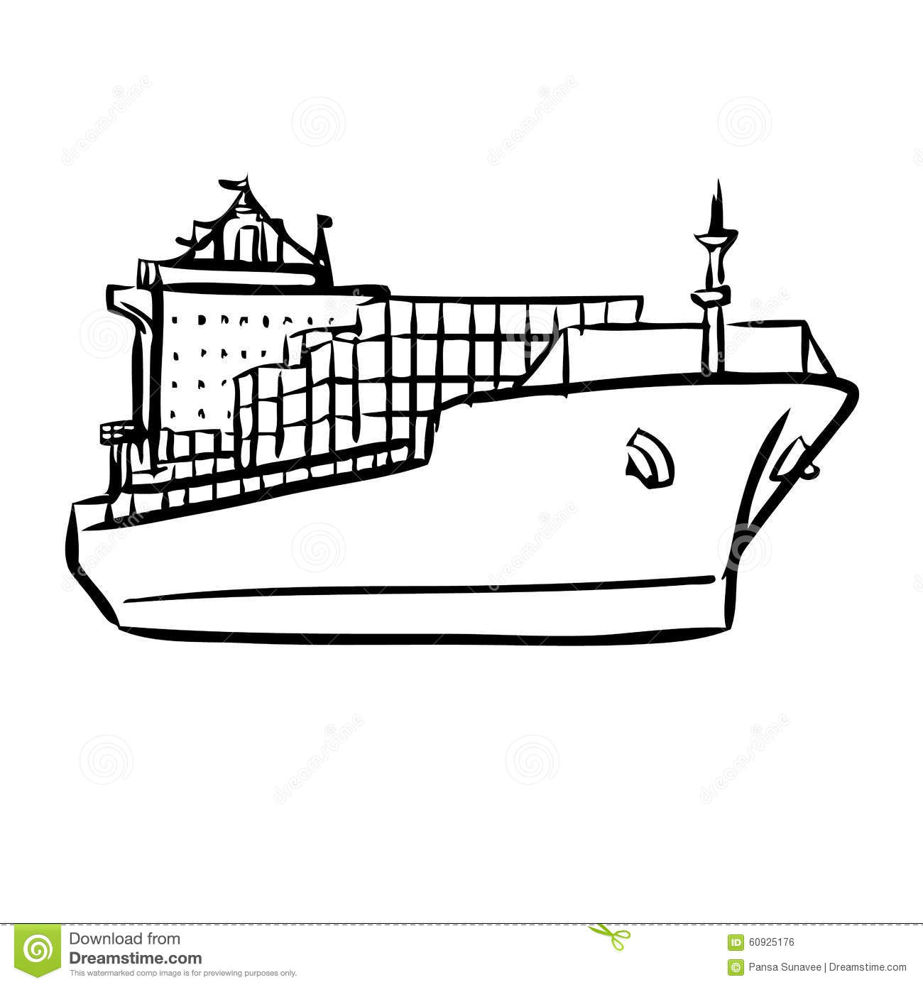 Cargo Ship With Containers Stock Vector Image Of Naval