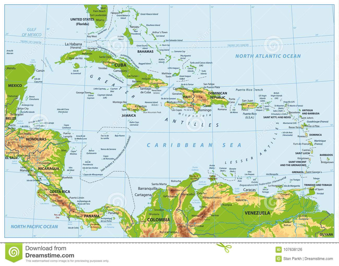 The Caribbean Physical Map No Bathymetry Stock Vector