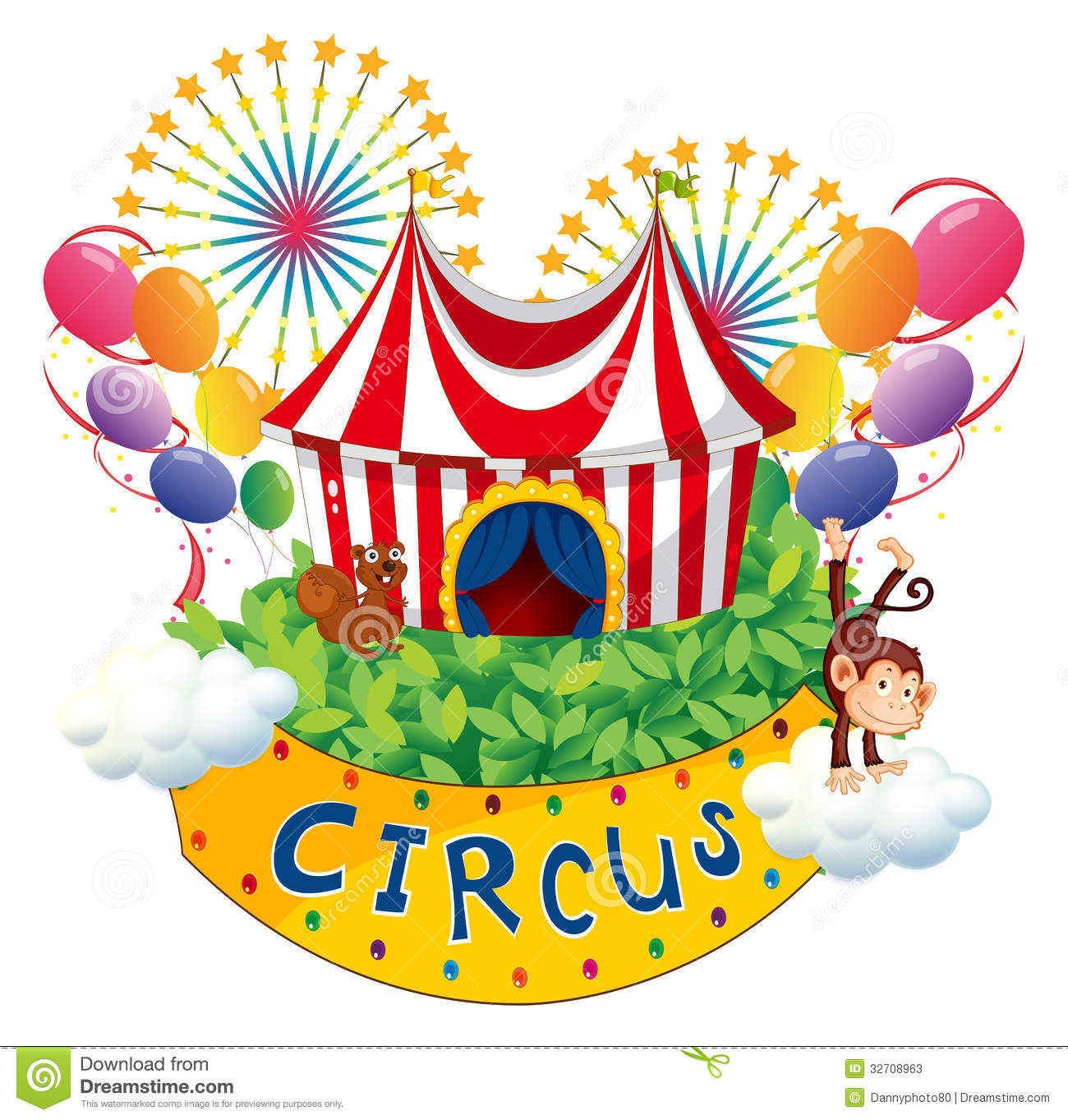 A Carnival With A Circus Signboard Stock Vector