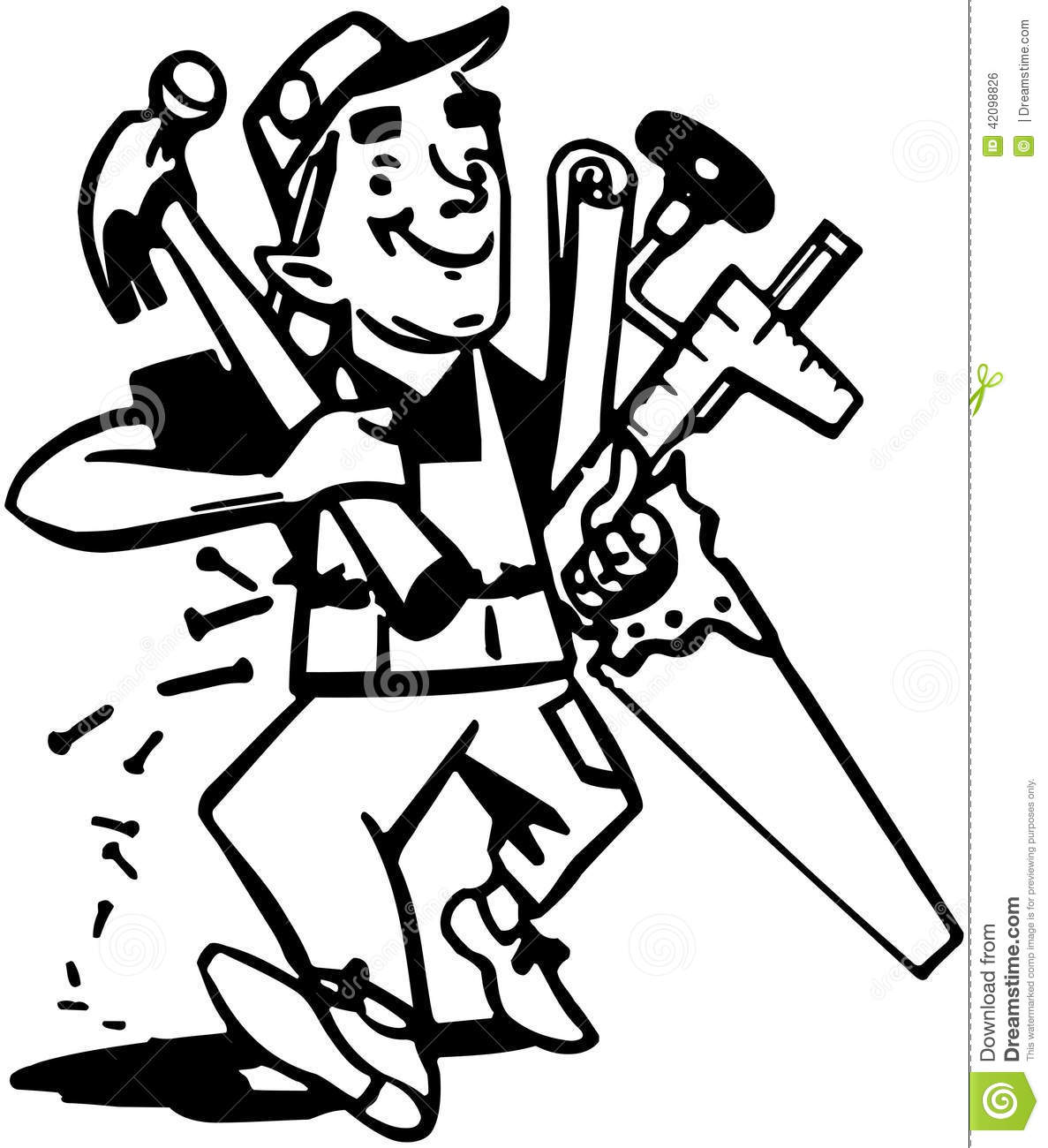 Carpenter With Tools Stock Vector Illustration Of Fifties