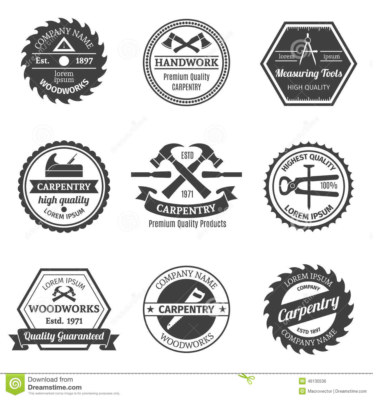 Carpentry Emblems Set Stock Vector Image Of Emblem