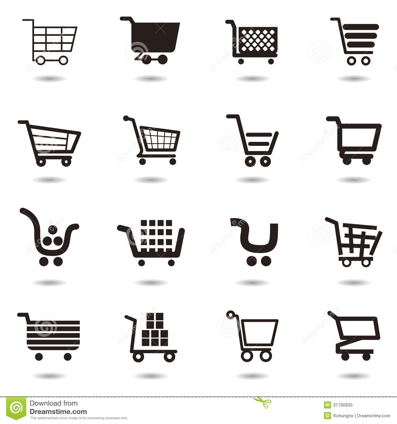 Cart Icon Set Stock Vector Illustration Of Shop Label