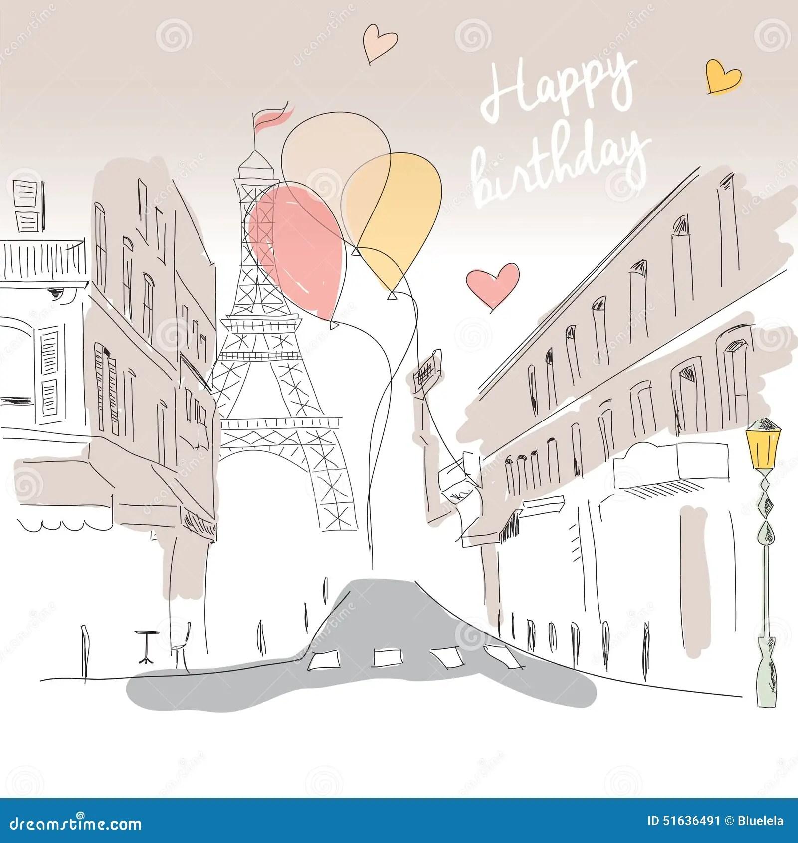 Eiffel Happy Tarjetas Torre Birthday De