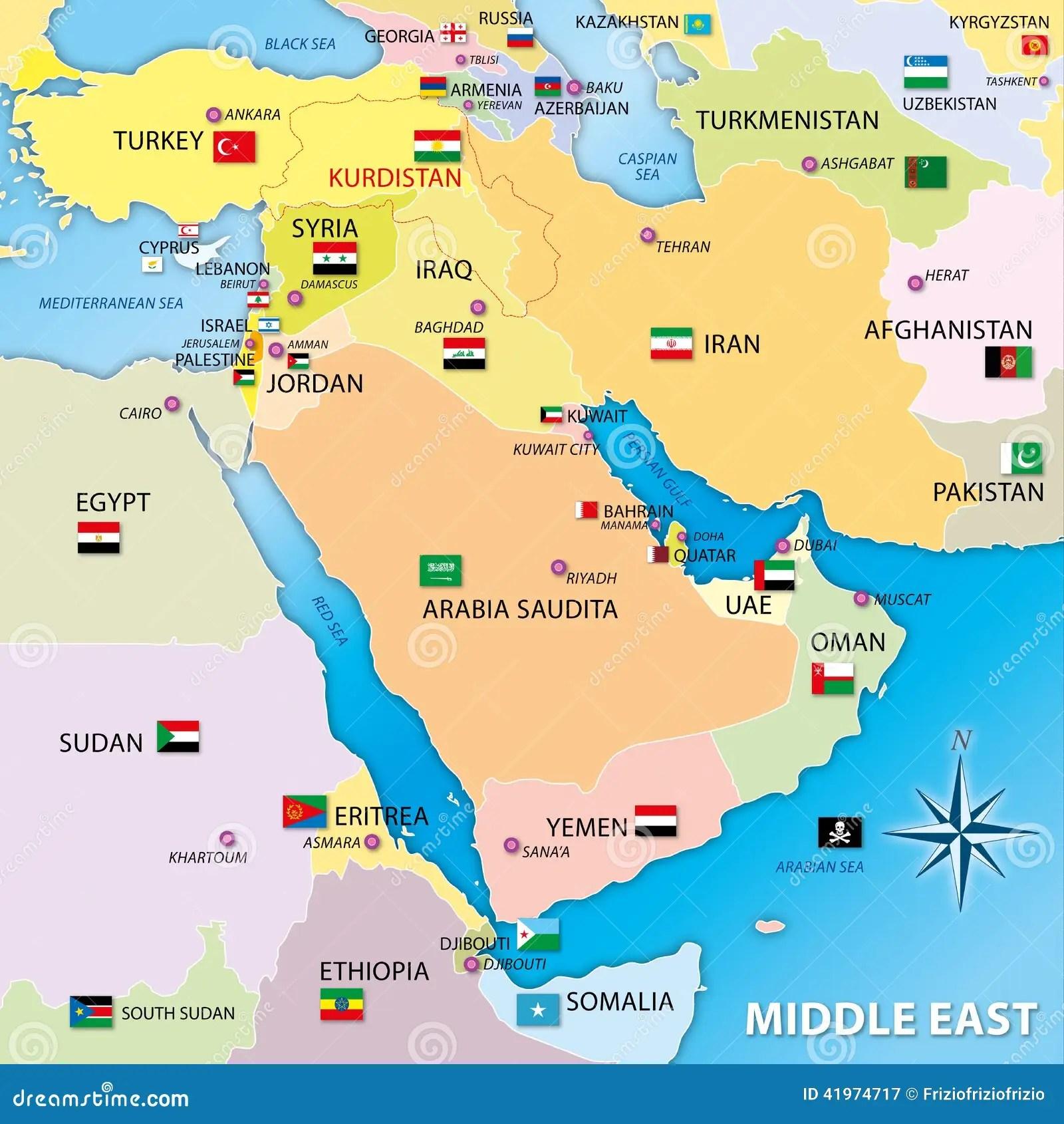 Carte De Moyen Orient Avec Des D Aux Illustration Stock