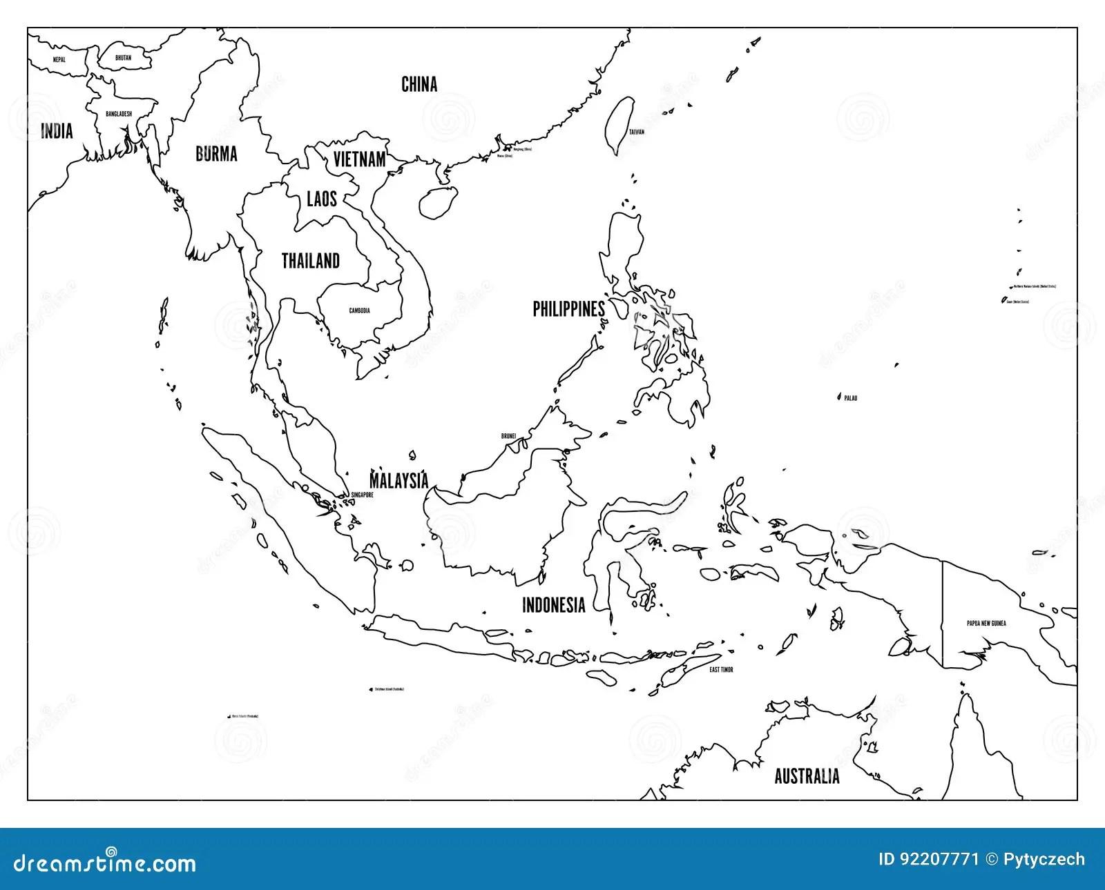 Carte Politique D Asie Du Sud Est Contour Noir Sur Le Fond