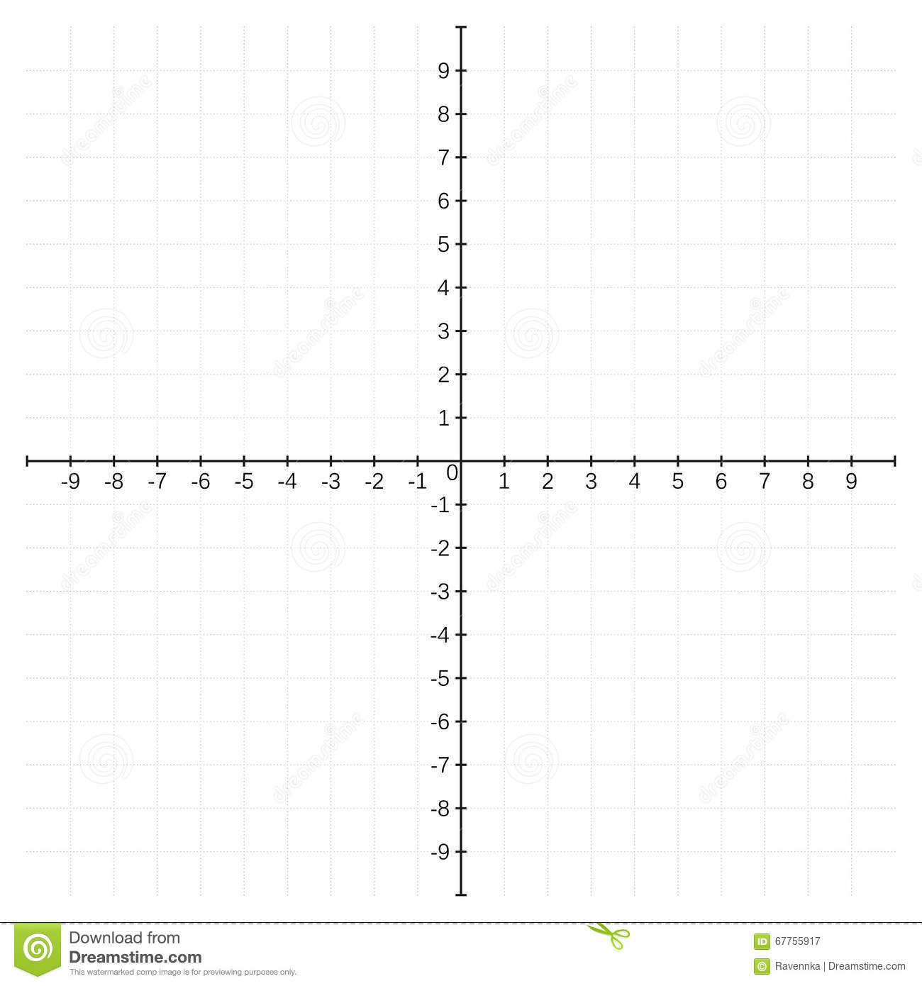 Cartesian Coordinate System Template Stock Vector