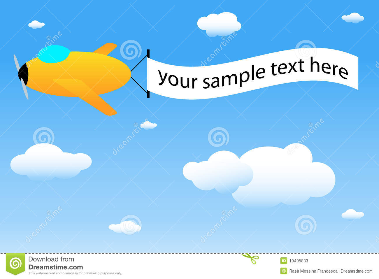 Cartoon Airplane With Banner Stock Photos Image 19495833
