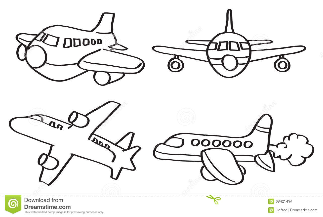 Cartoon Airplane Vector Line Art Illustration Stock Vector
