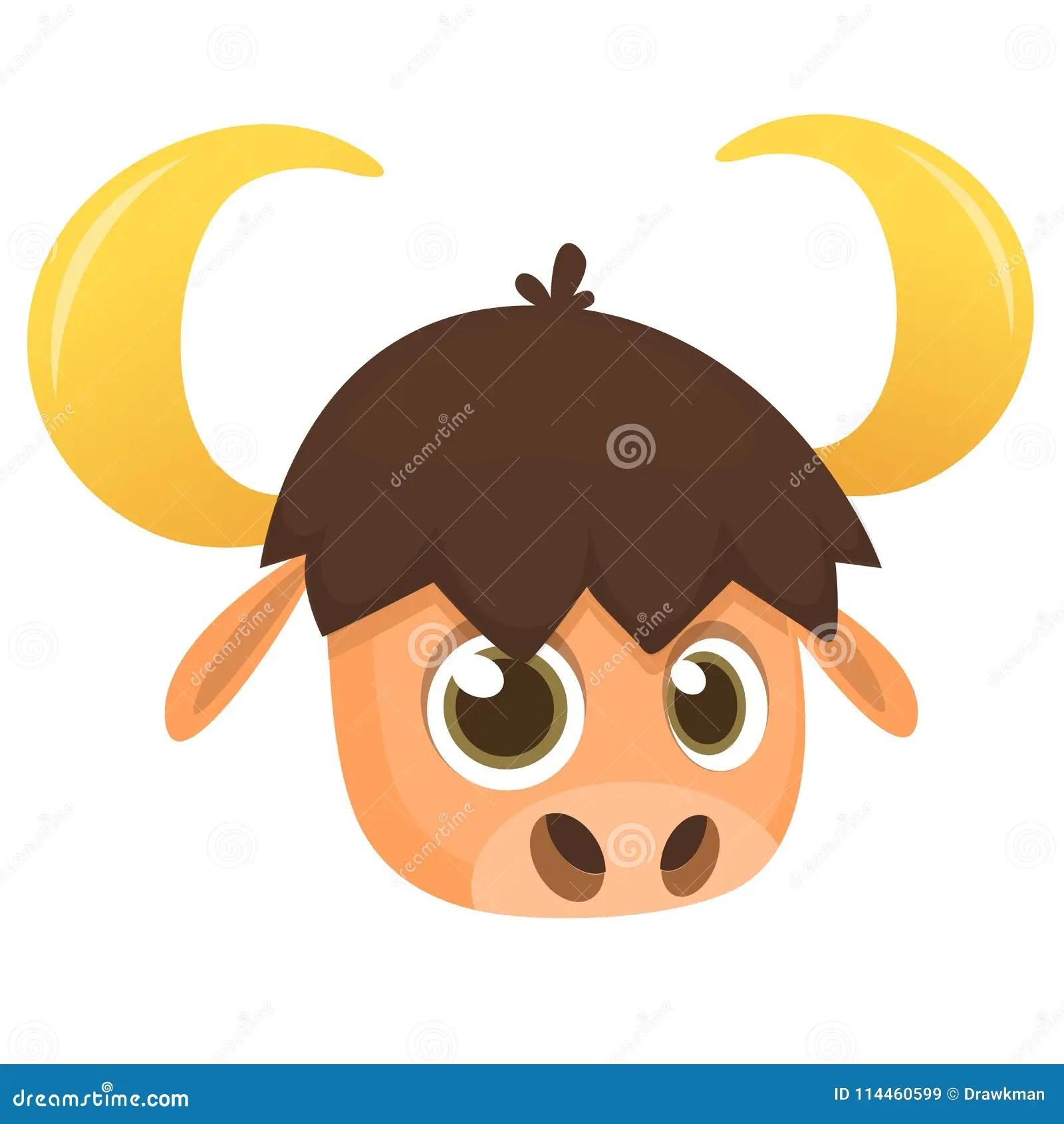 Cartoon American Bull Buffalo Ox Bison Head Icon
