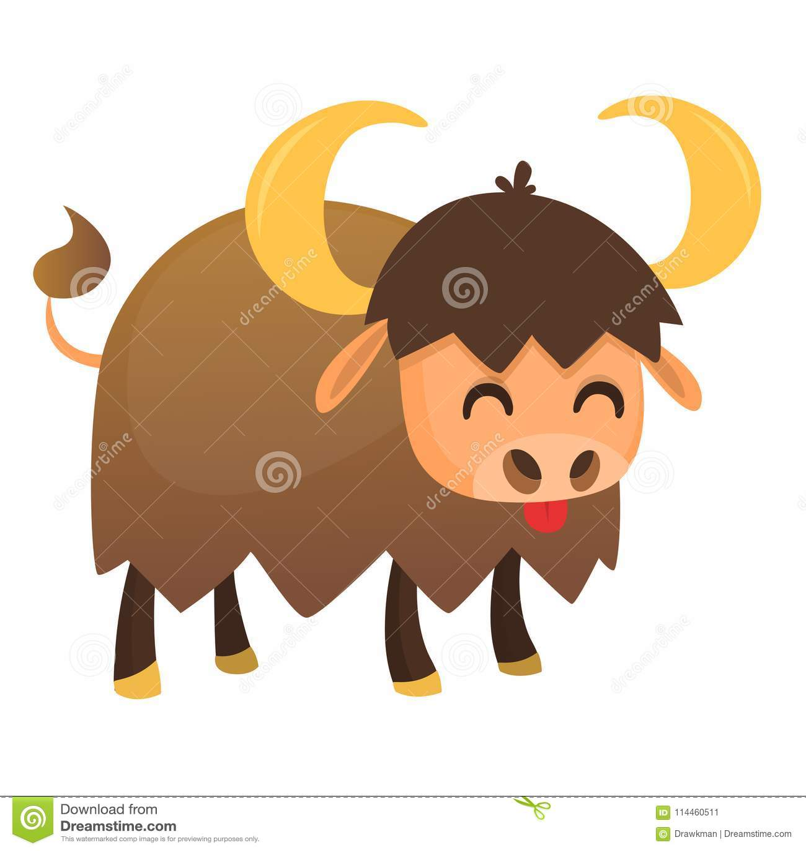 Cartoon American Bull Buffalo Ox Bison Isolated On