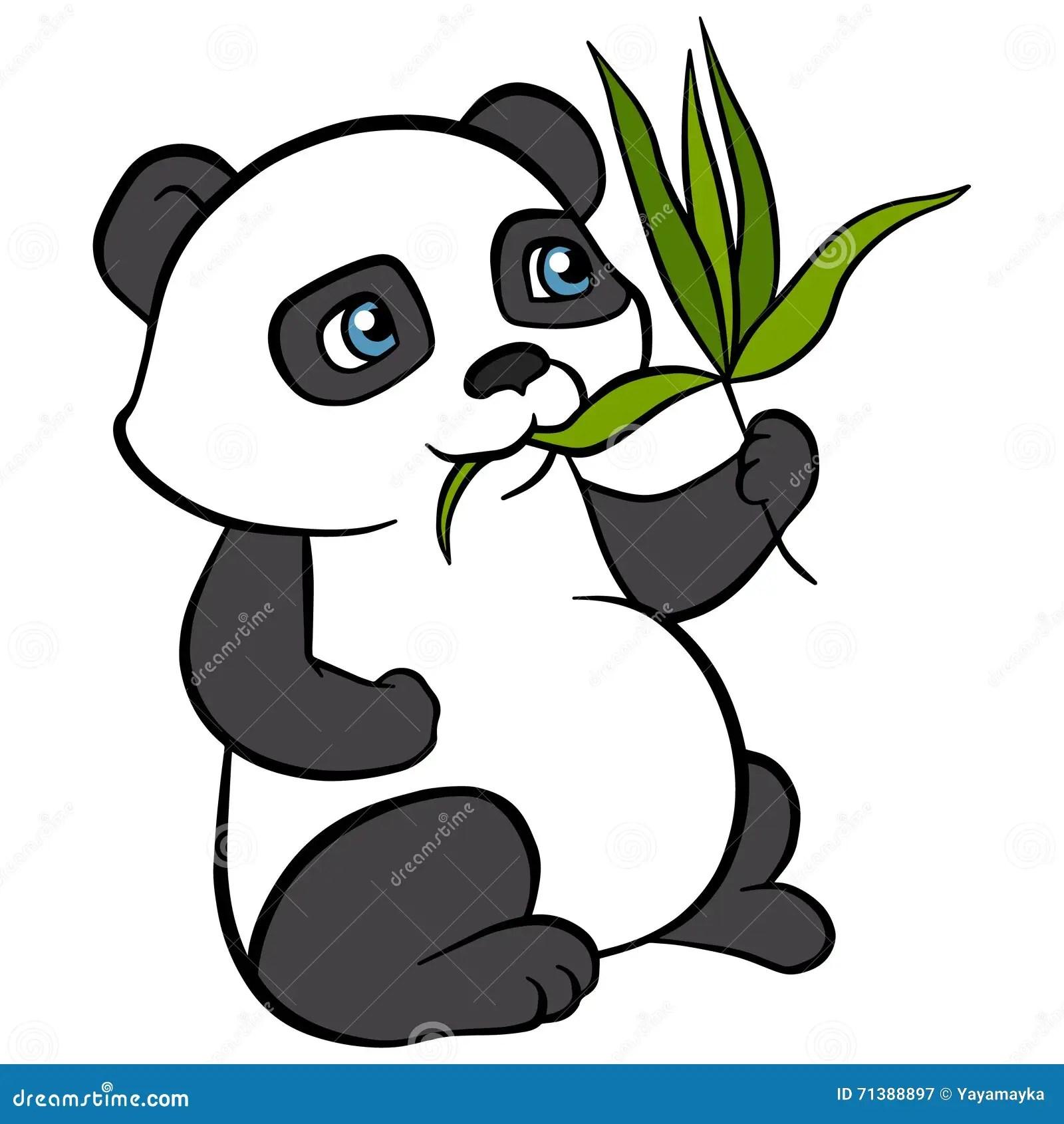 Cartoon Animals For Kids Little Cute Panda Eat Leaves Stock Vector Illustration Of Baby Leaves 71388897