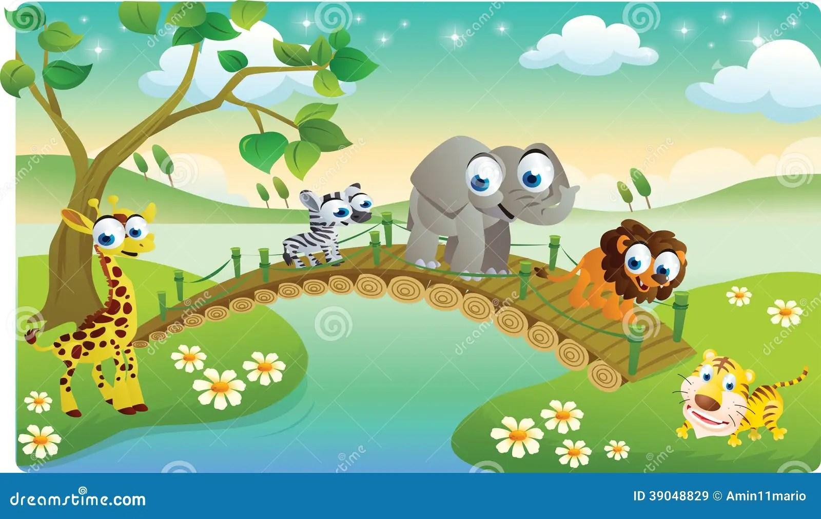Cartoon Animals Playing With Beautiful Scenery Stock