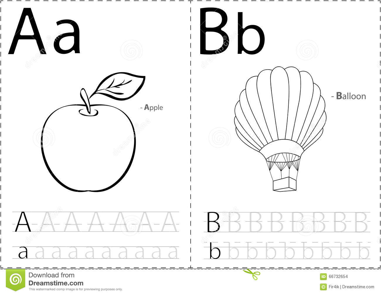Cartoon Apple And Balloon Alphabet Tracing Worksheet Writing A Stock Vector