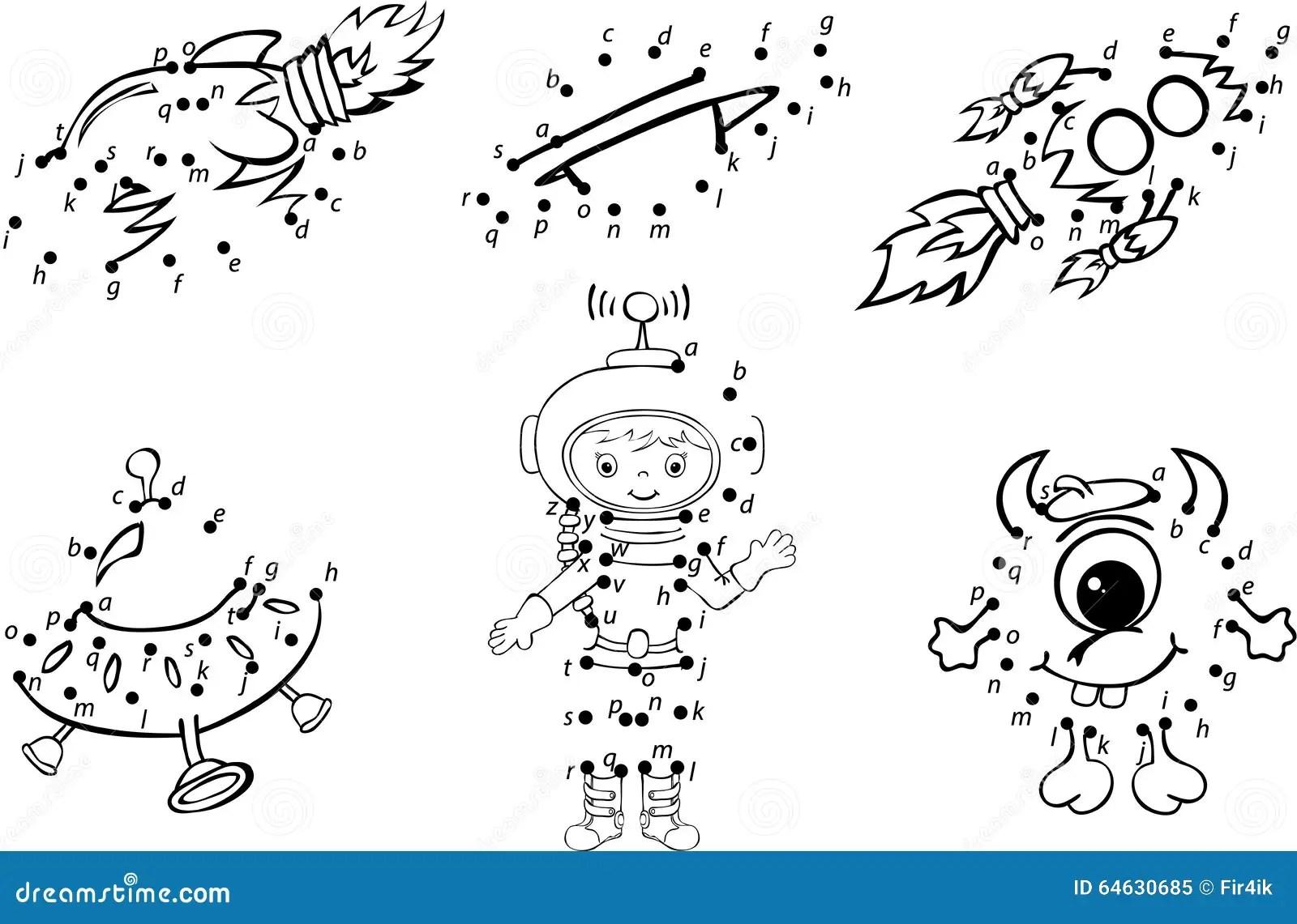 Cartoon Astronaut Alien Rockets And Planets Vector