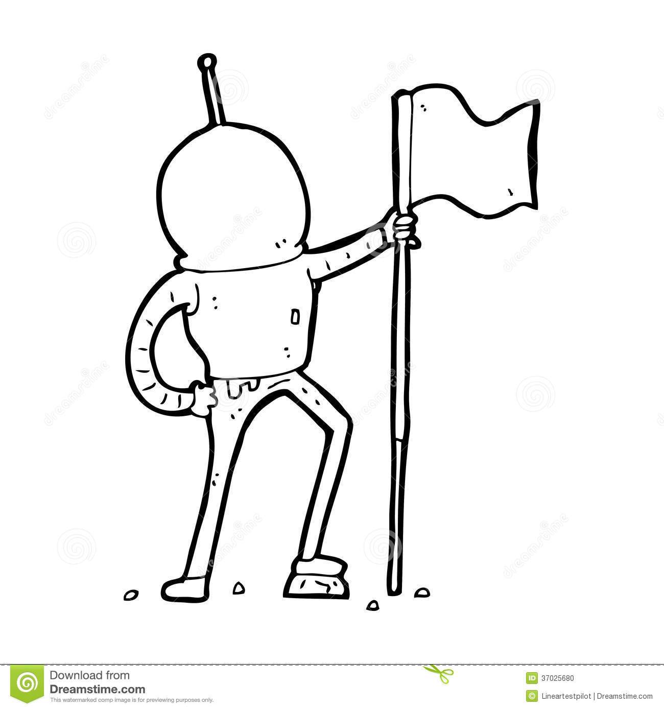 Cartoon Astronaut Planting Flag Stock Photo