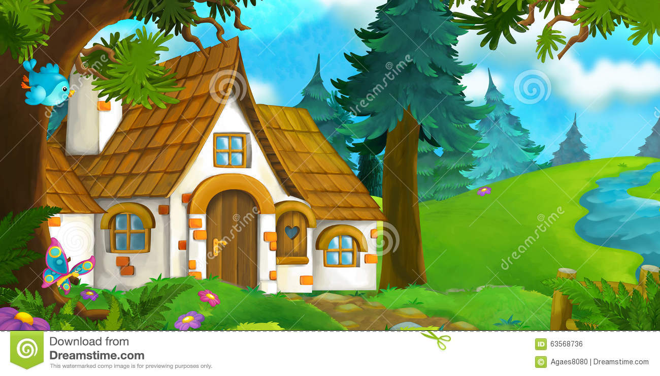 Cartoon Background Of An Old House In The Forest Stock