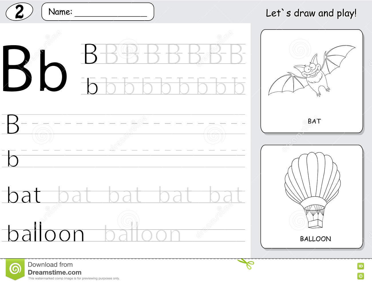 Cartoon Bat And Balloon Alphabet Tracing Worksheet