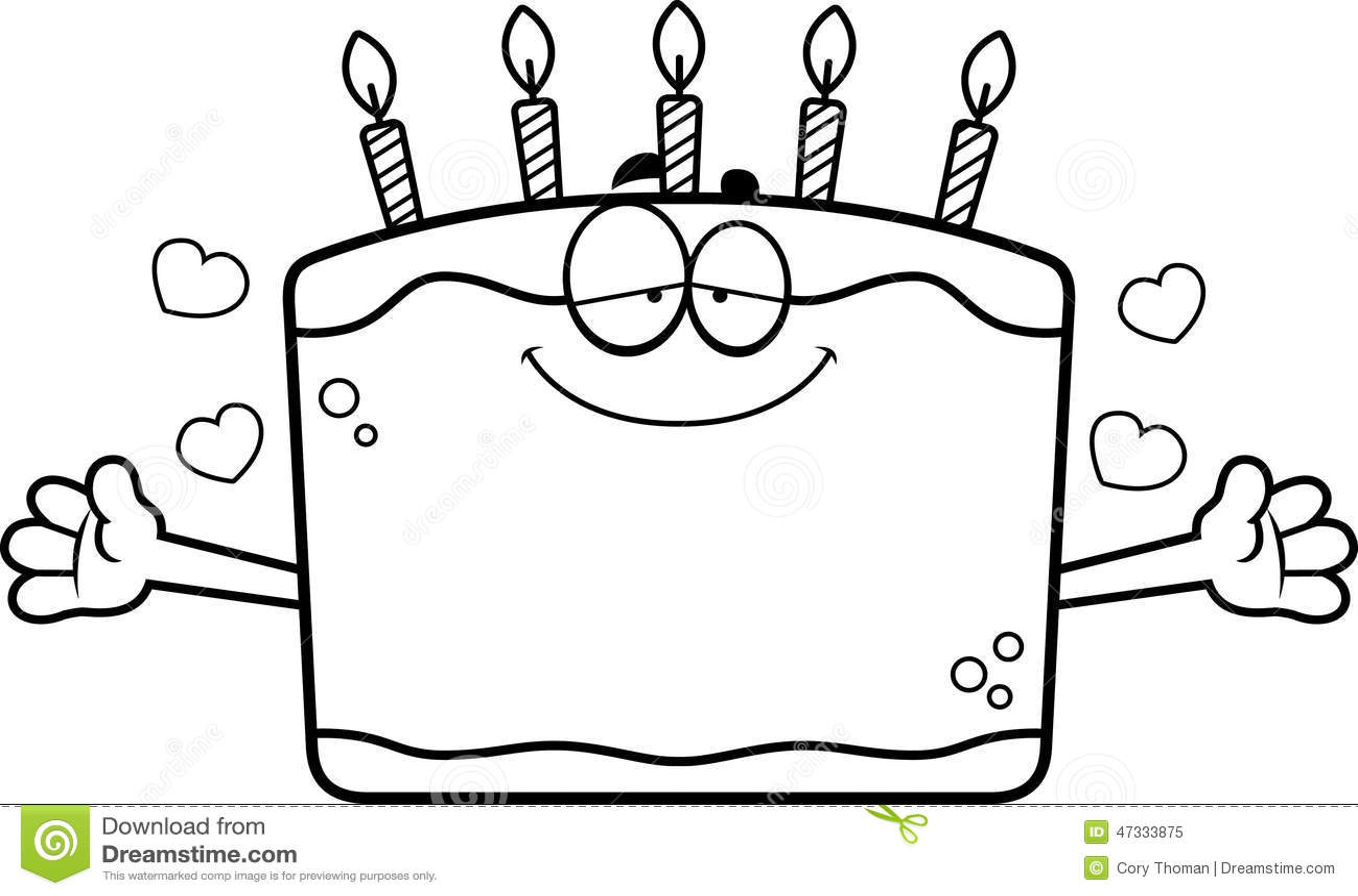 Cartoon Birthday Cake Hug Stock Vector Illustration Of
